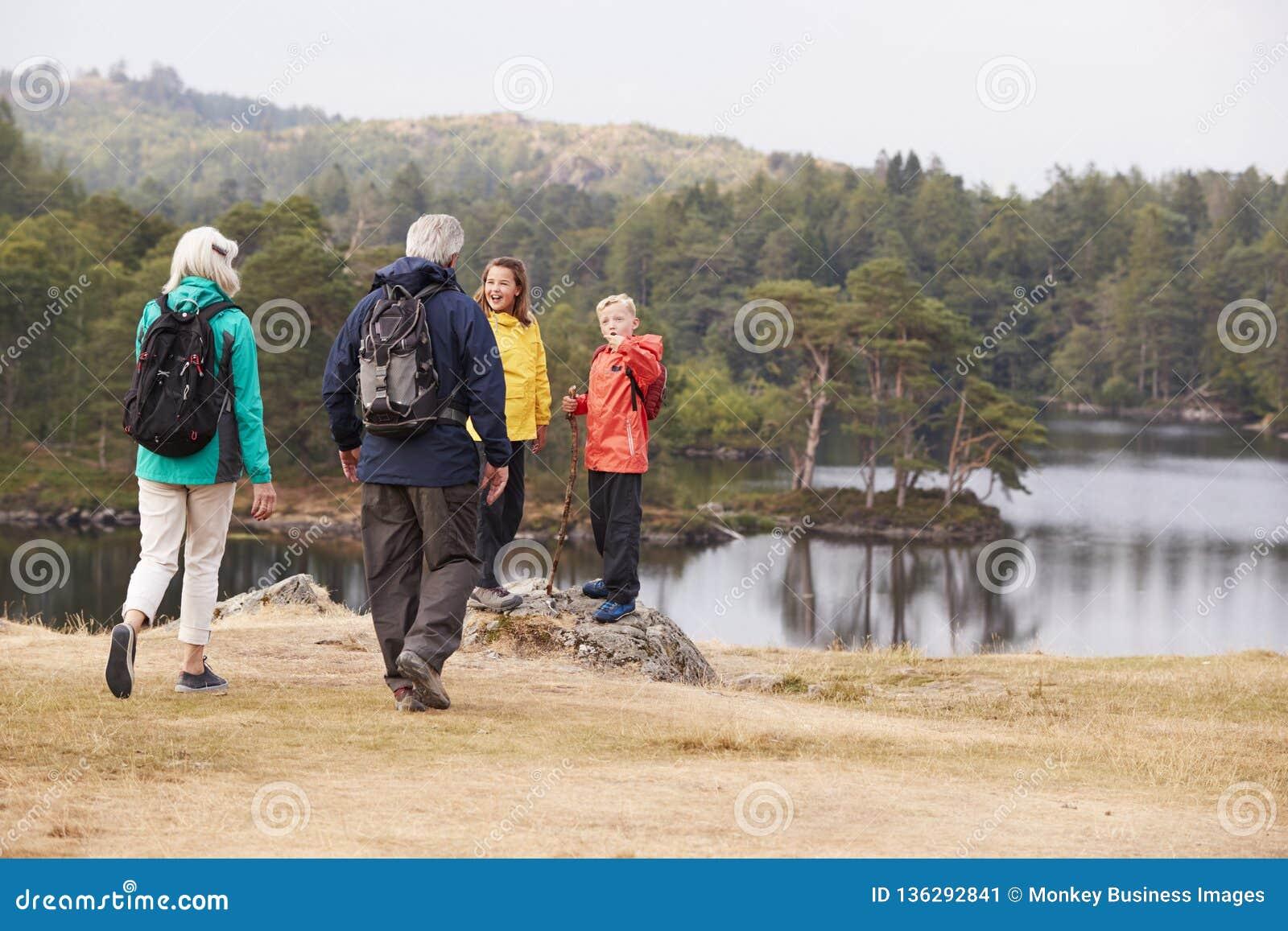 Les grands-parents caucasiens marchent à leurs petits-enfants pour admirer la vue de bord de lac, vue arrière, le secteur de lac,
