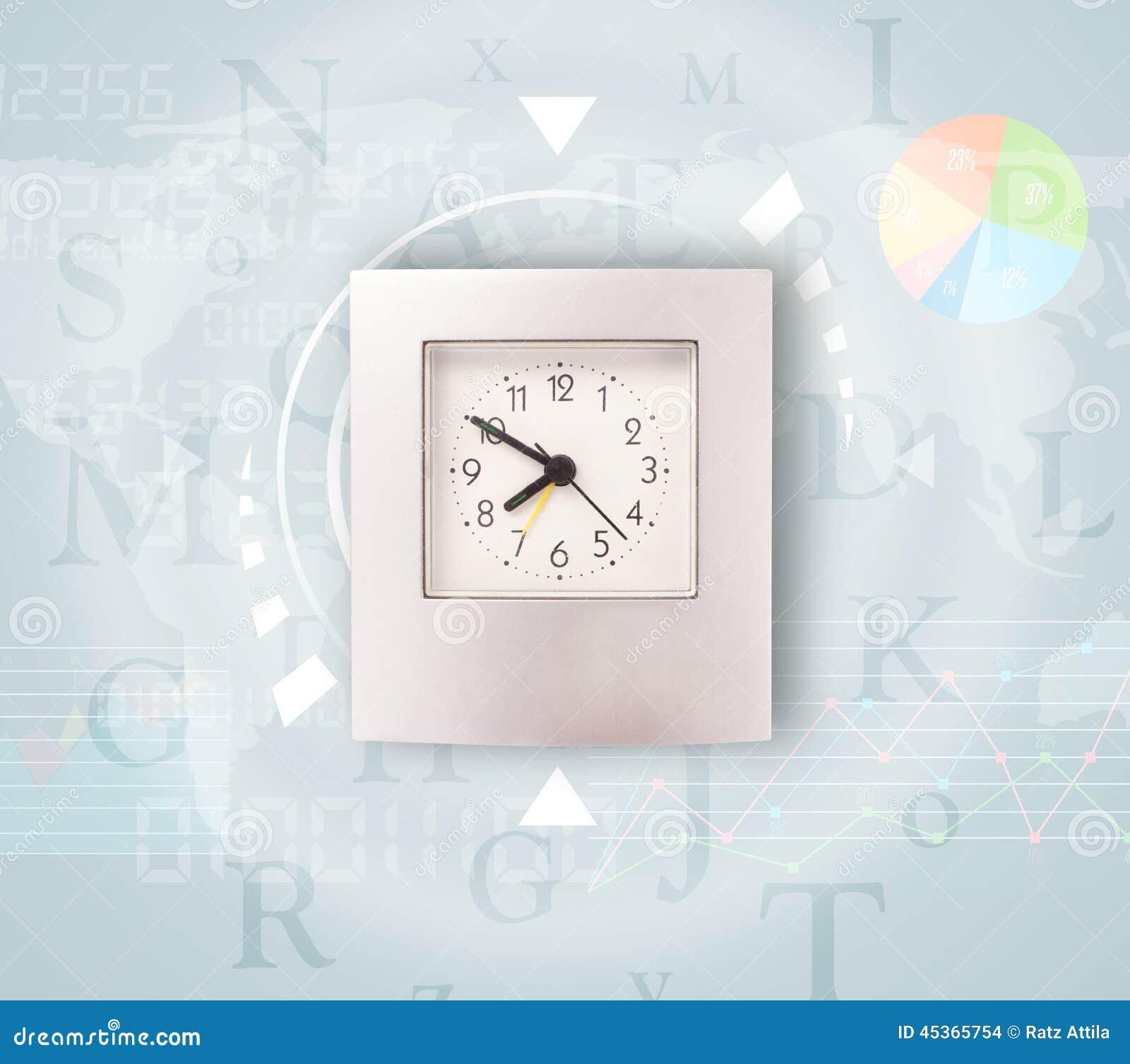 Les horloges avec le monde chronomètrent et financent le concept d affaires