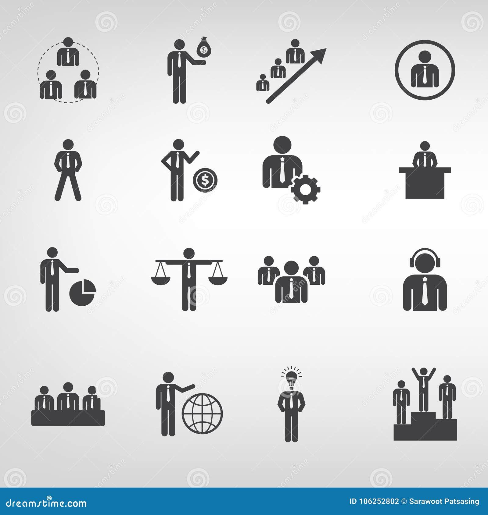 Les icônes d affaires dirigent l illustrateur plat de style sur le fond