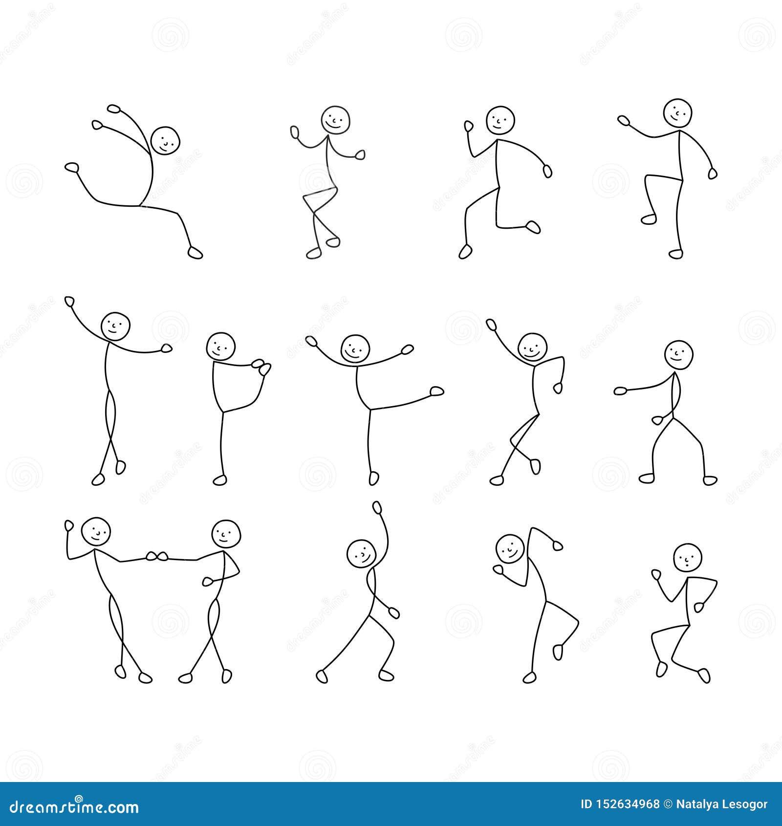 Les icônes de bande dessinée ont placé du croquis chiffre de bâton de lutins, personnes de danse, dessin de dessin à main levée,