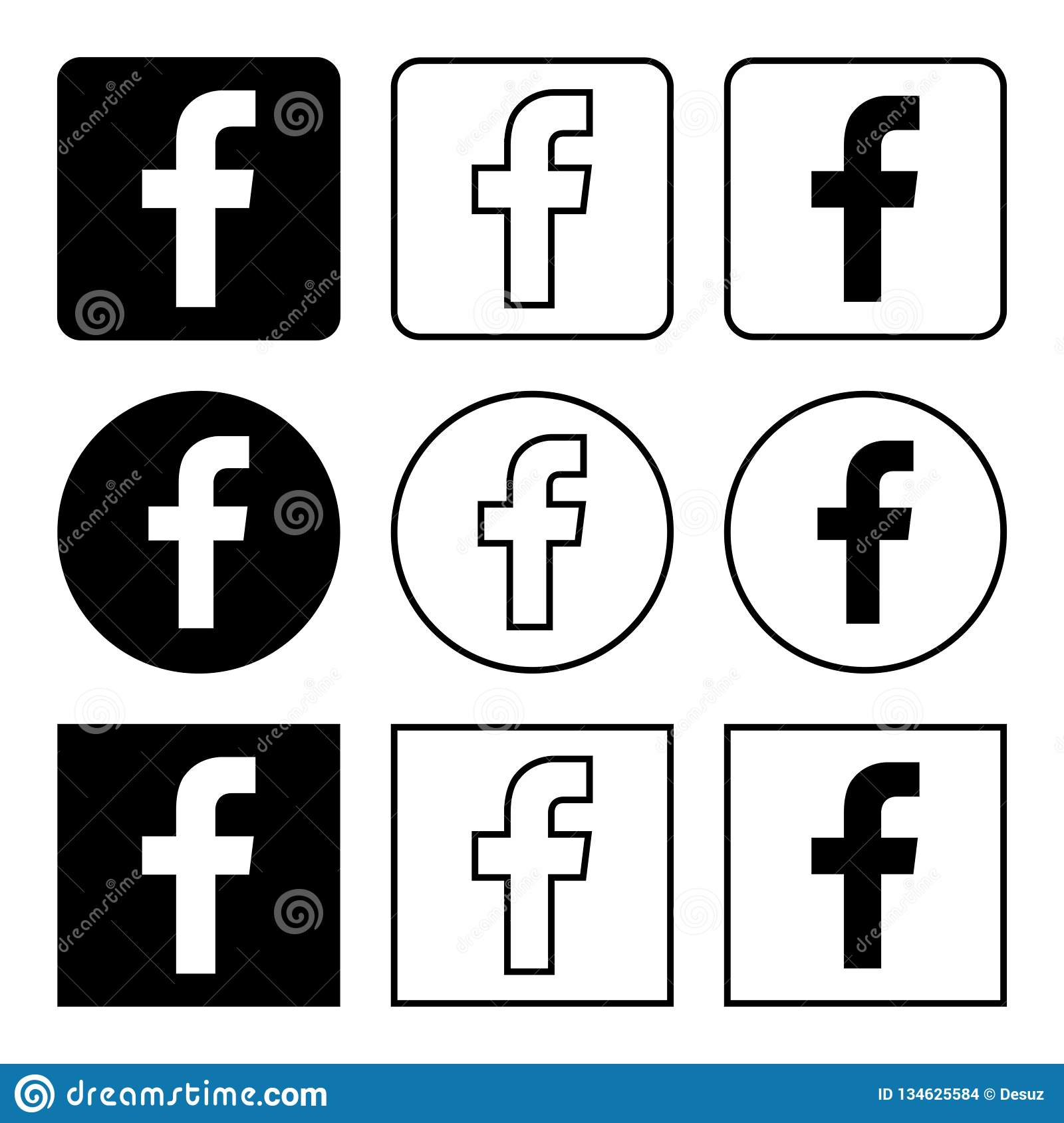 Les Icones De Facebook Ont Place Noir Image Stock Editorial