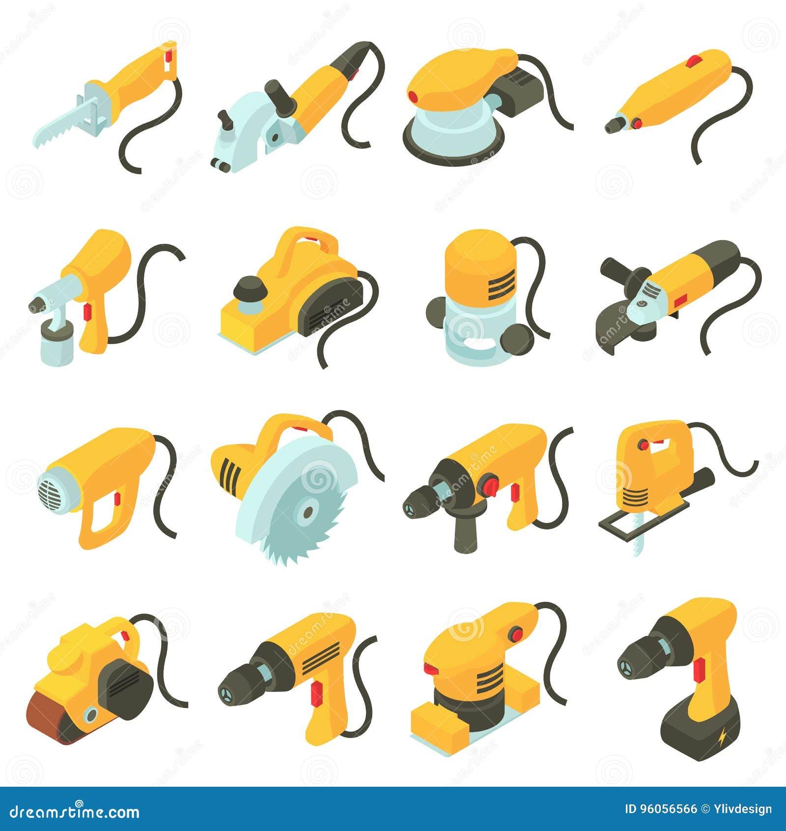 Les icônes électriques d outils ont placé, style isométrique de bande dessinée