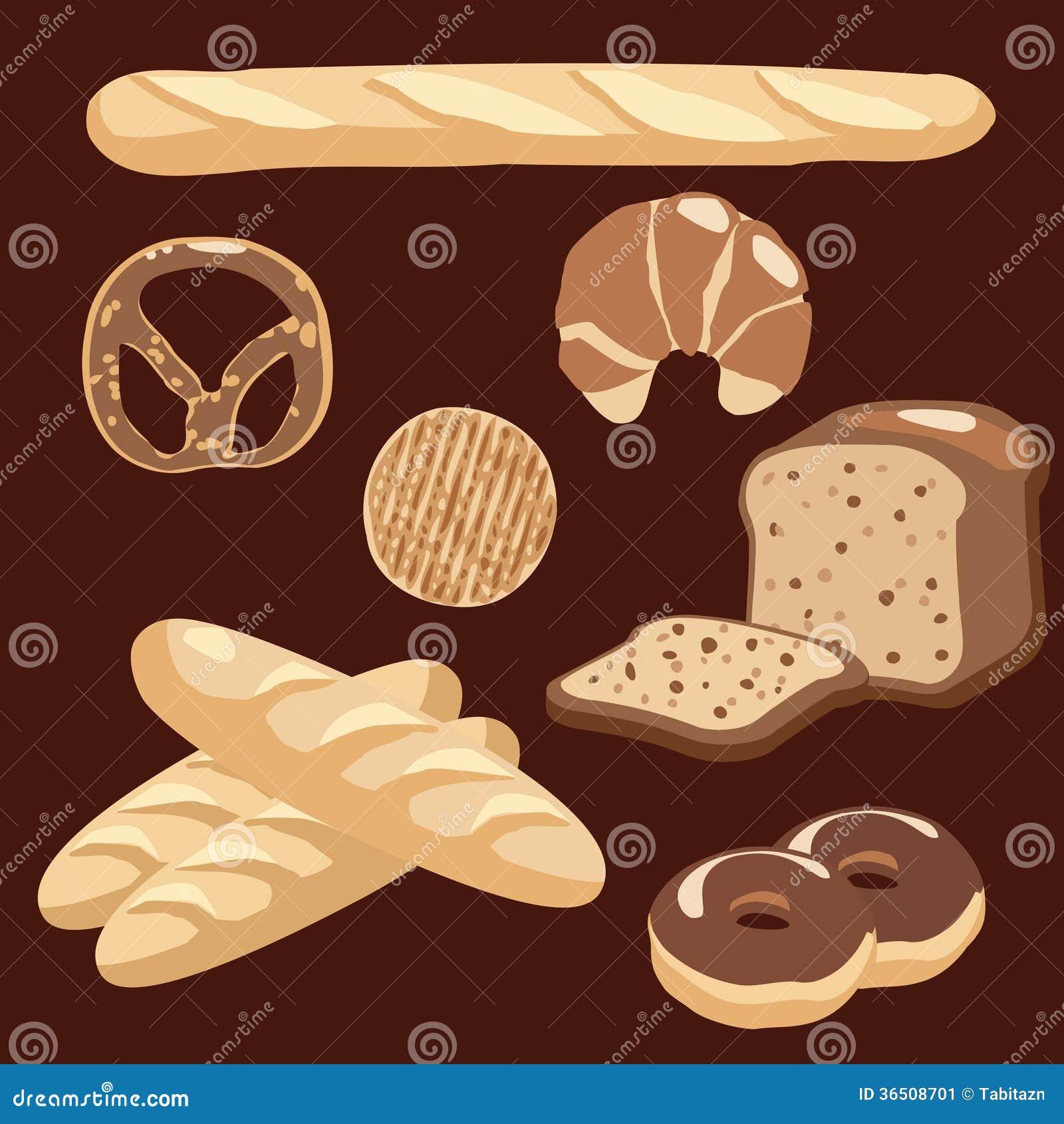 Les icônes de boulangerie ont placé, illustration de divers pains