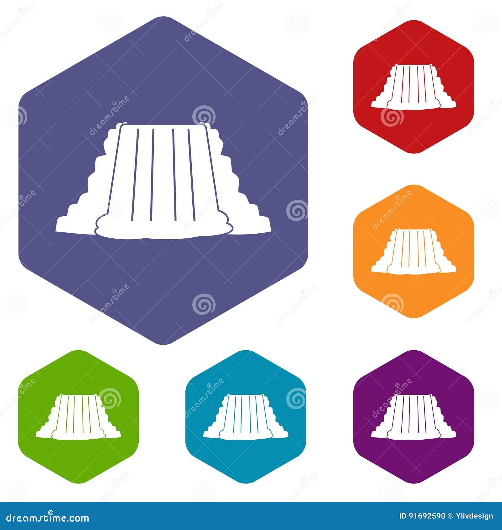 Les icônes de chutes du Niagara ont placé l hexagone