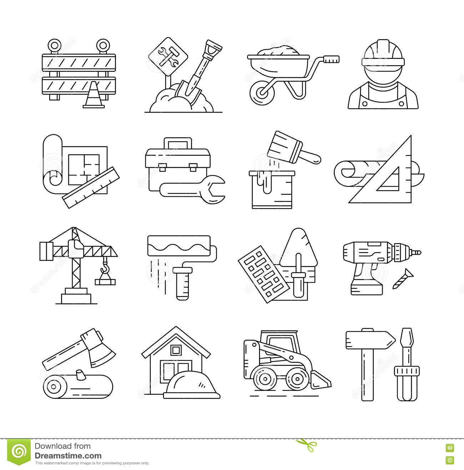 Les icônes de construction ou la ligne mince de construction signe le vecteur