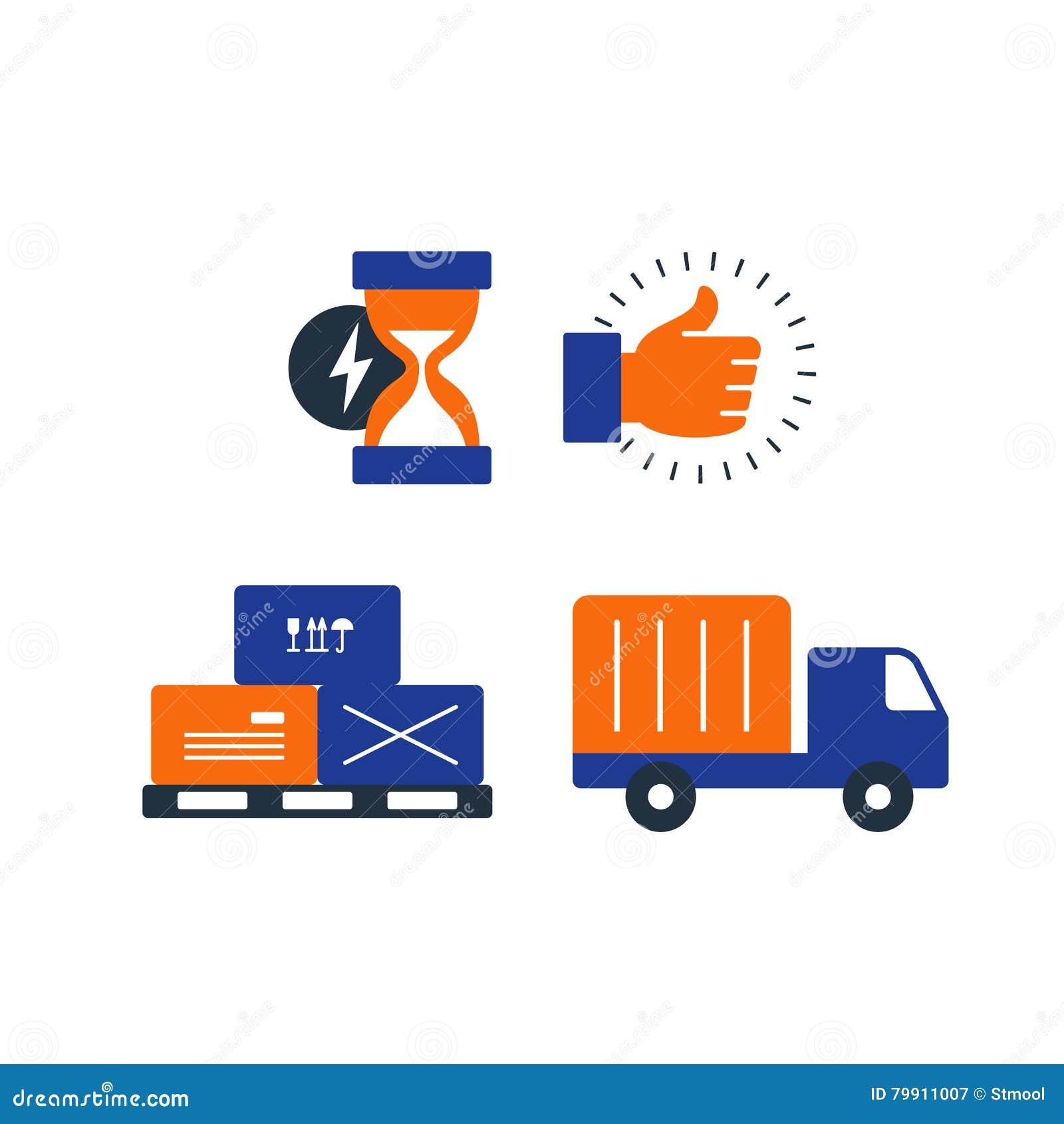 les ic nes de logistique de la livraison ont plac des bo tes de mouvement camion de. Black Bedroom Furniture Sets. Home Design Ideas