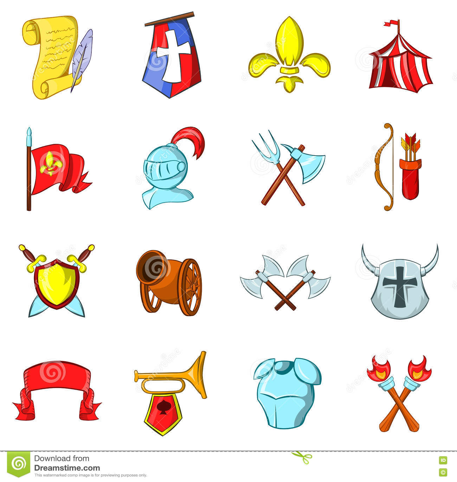 Les icônes de Moyens Âges réglées
