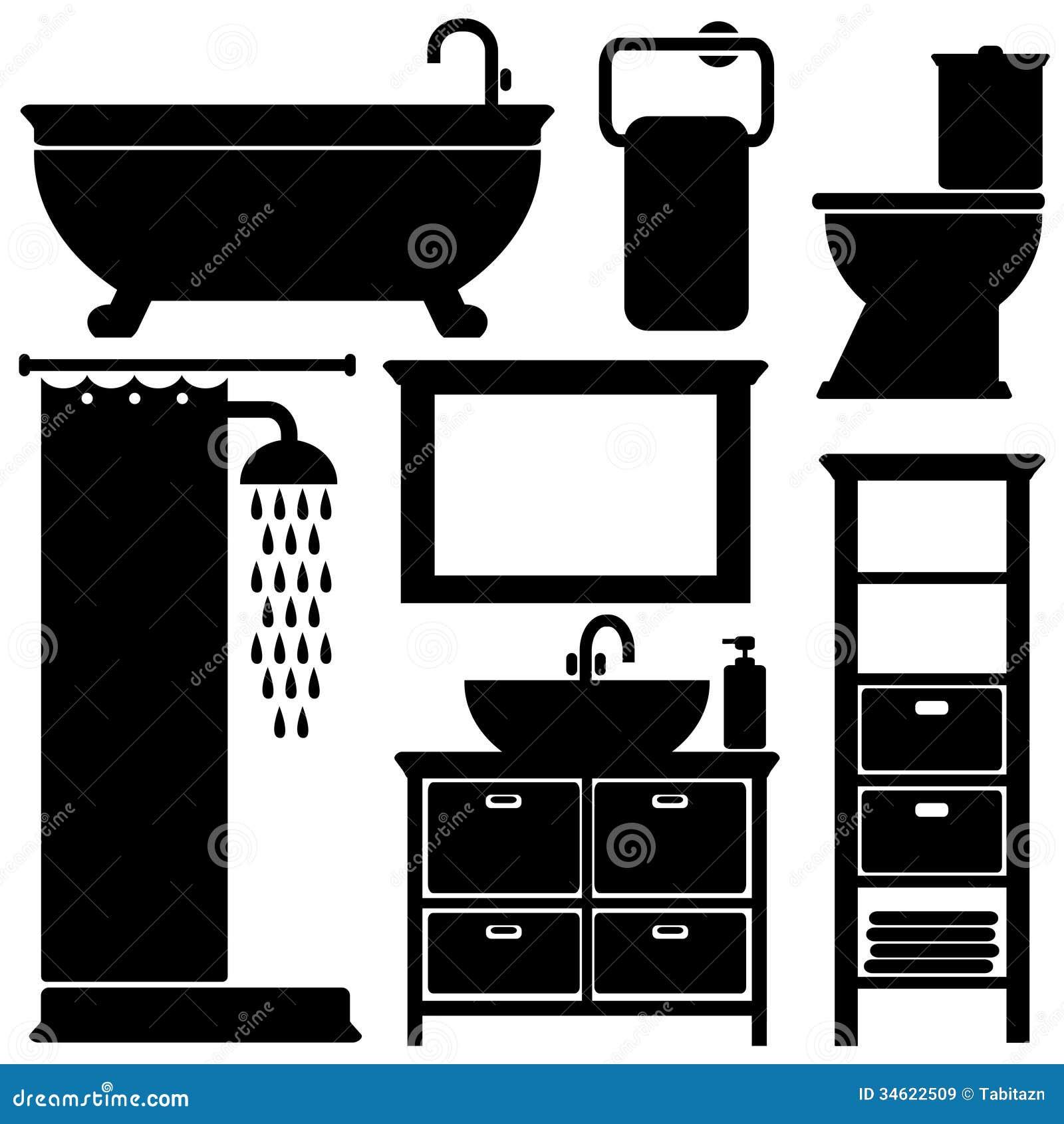 Les Ic 244 Nes De Noir De Toilette De Salle De Bains Ont Plac 233