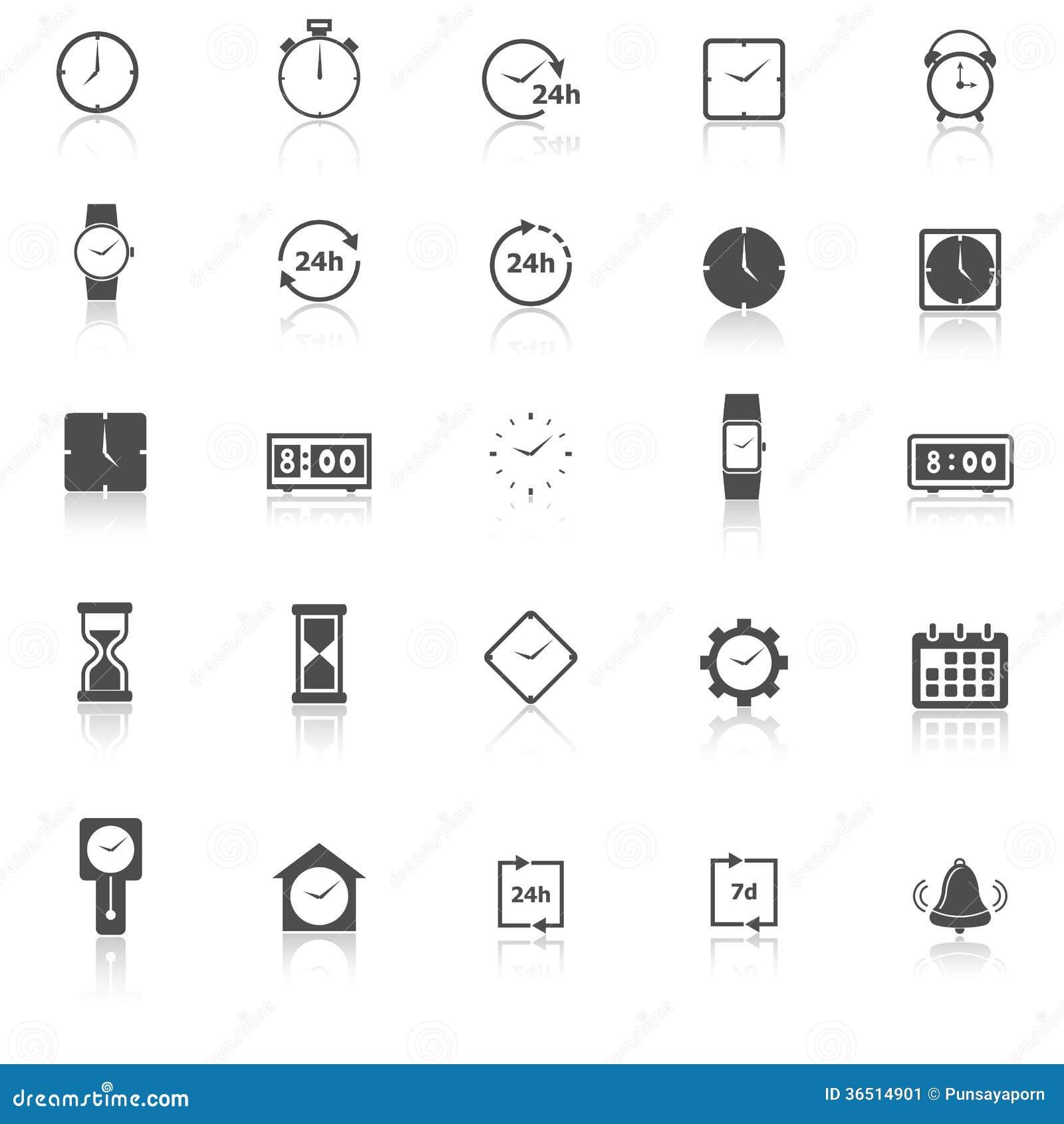 Les icônes de temps avec réfléchissent sur le fond blanc