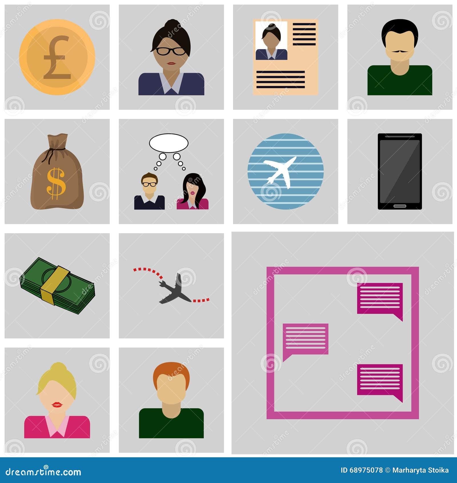 Les icônes ont placé la correspondance d icône de vecteur d affaires, message
