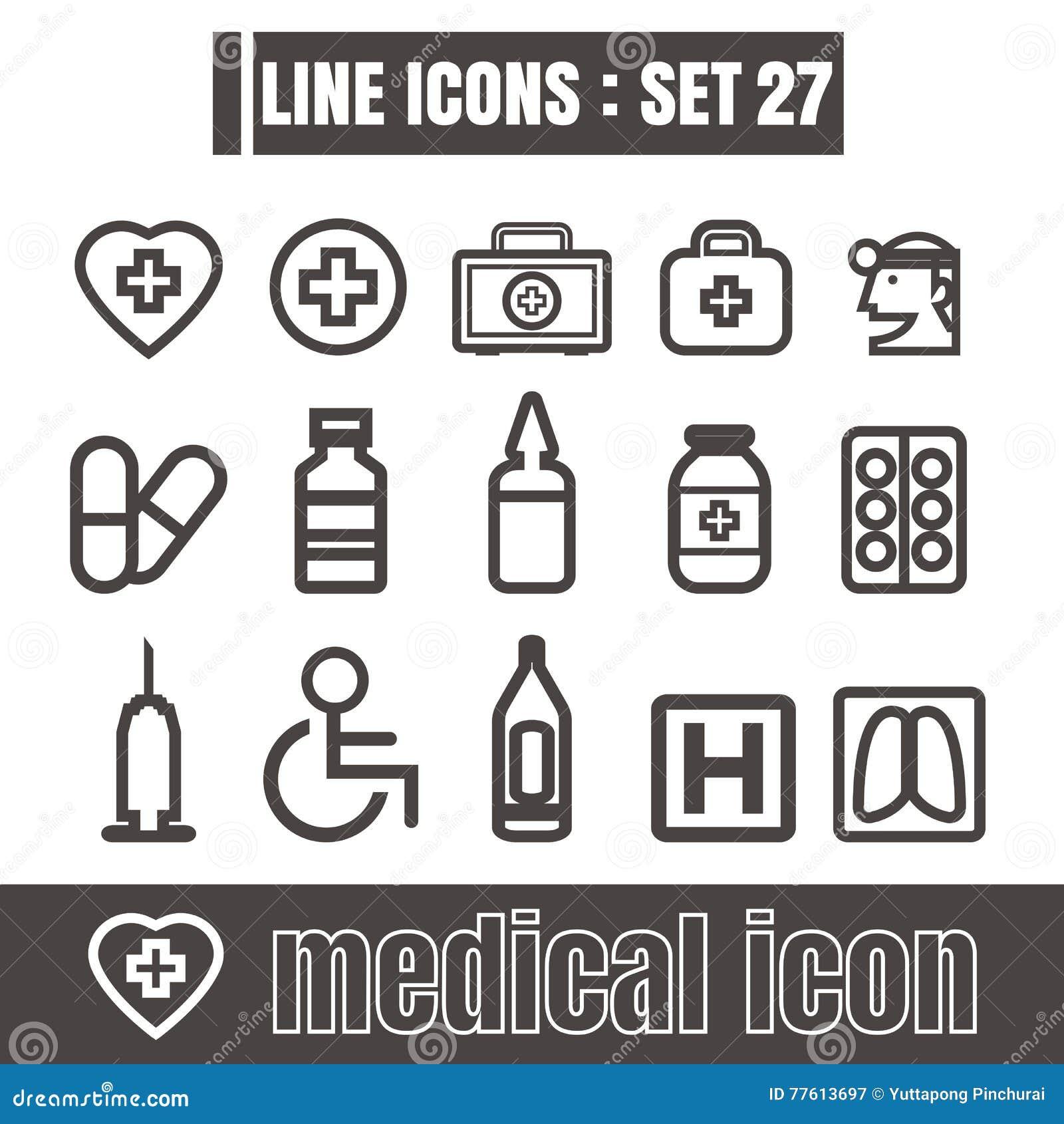 Les icônes ont placé la ligne médicale éléments modernes de travaux de conception de style de noir