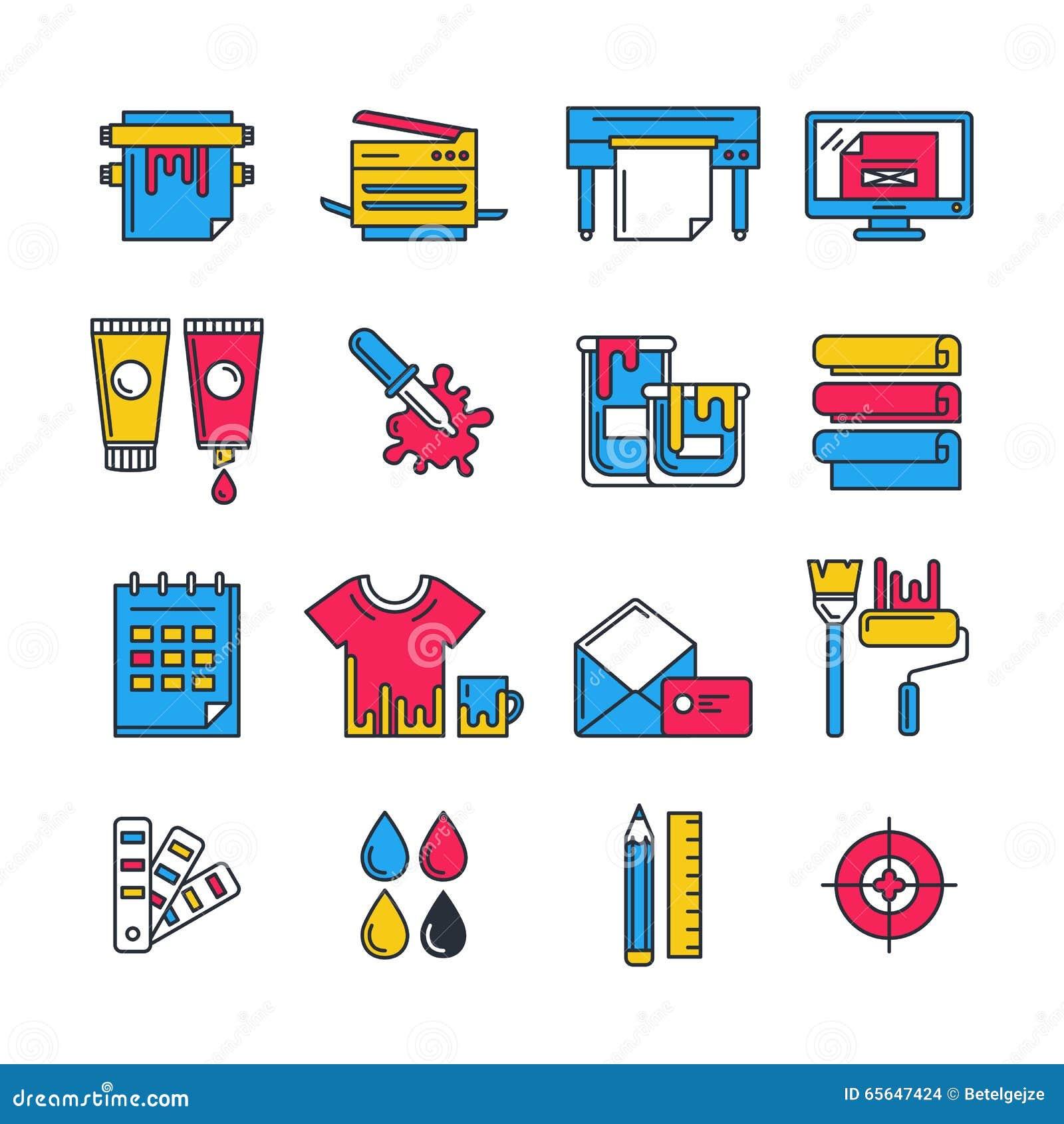 Les icônes plates d impression de vecteur ont placé dans des couleurs de cmyk Concept pour la copie