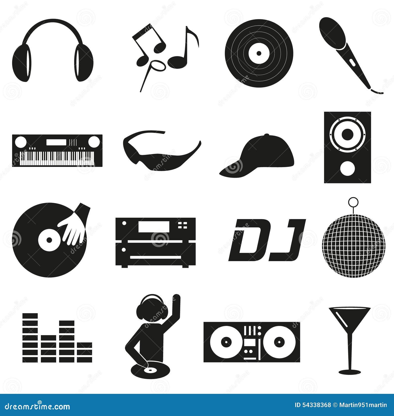 Les icônes simples noires du DJ de club de musique ont placé eps10