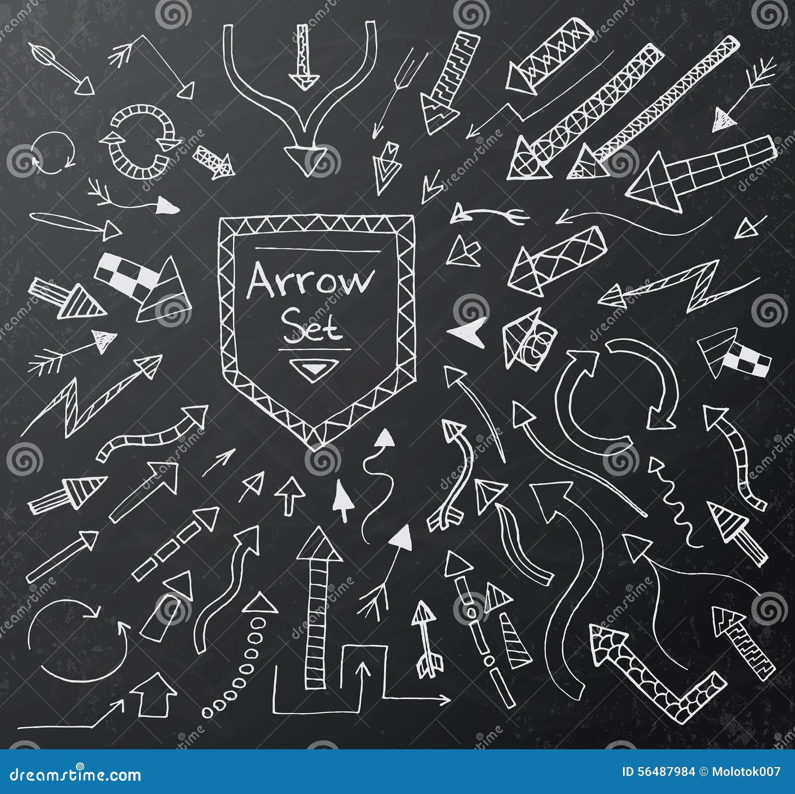Les icônes tirées par la main de flèche ont placé sur le panneau de craie noir