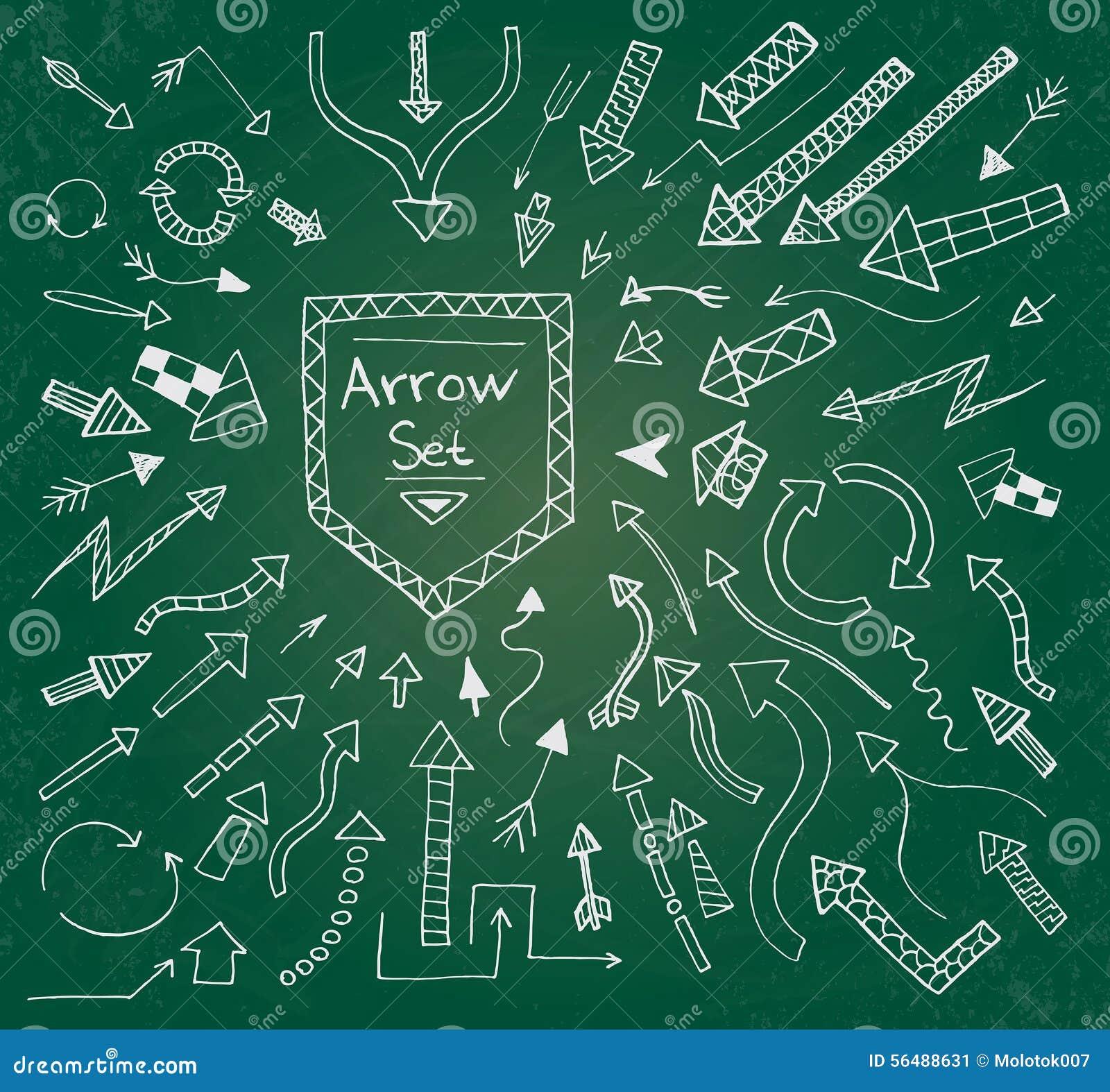 Les icônes tirées par la main de flèche ont placé sur le panneau de craie vert