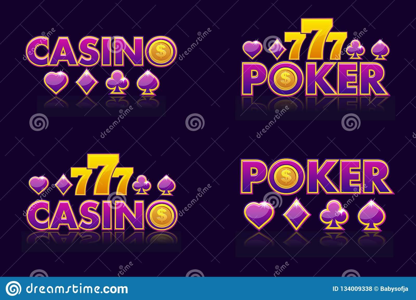 Les idées pourpres de logo textotent le CASINO et le TISONNIER Icônes de vecteur pour la loterie ou le casino Emblème quatre d is