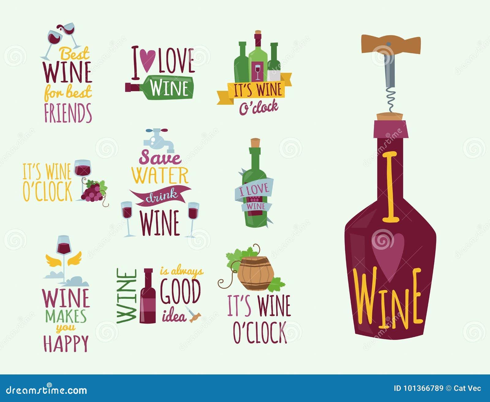 Les insignes et les labels naturels tirés par la main pour le vin dirigent le signe de menu d alcool de restaurant d illustration