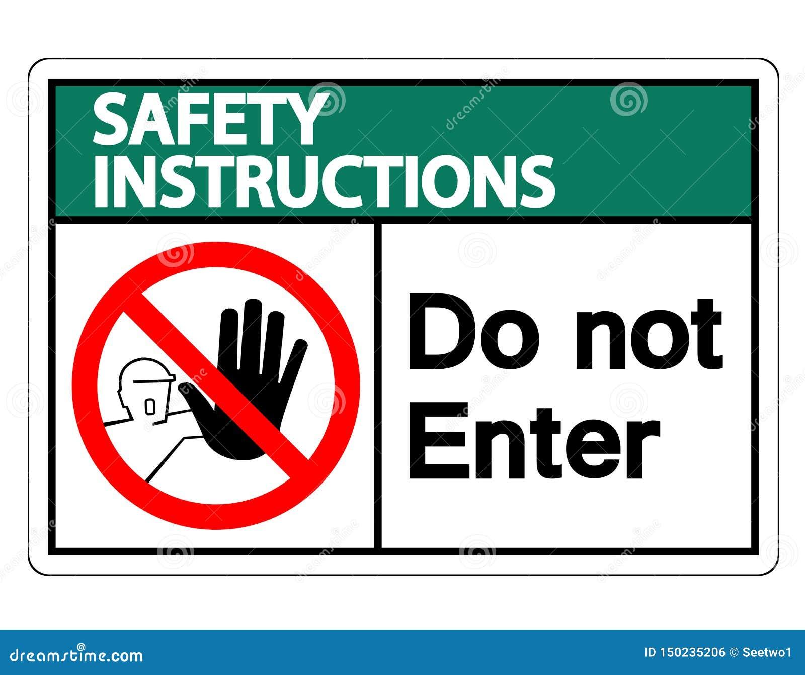 Les instructions de sécurité n entrent pas dans l isolat de signe de symbole sur le fond blanc, illustration de vecteur