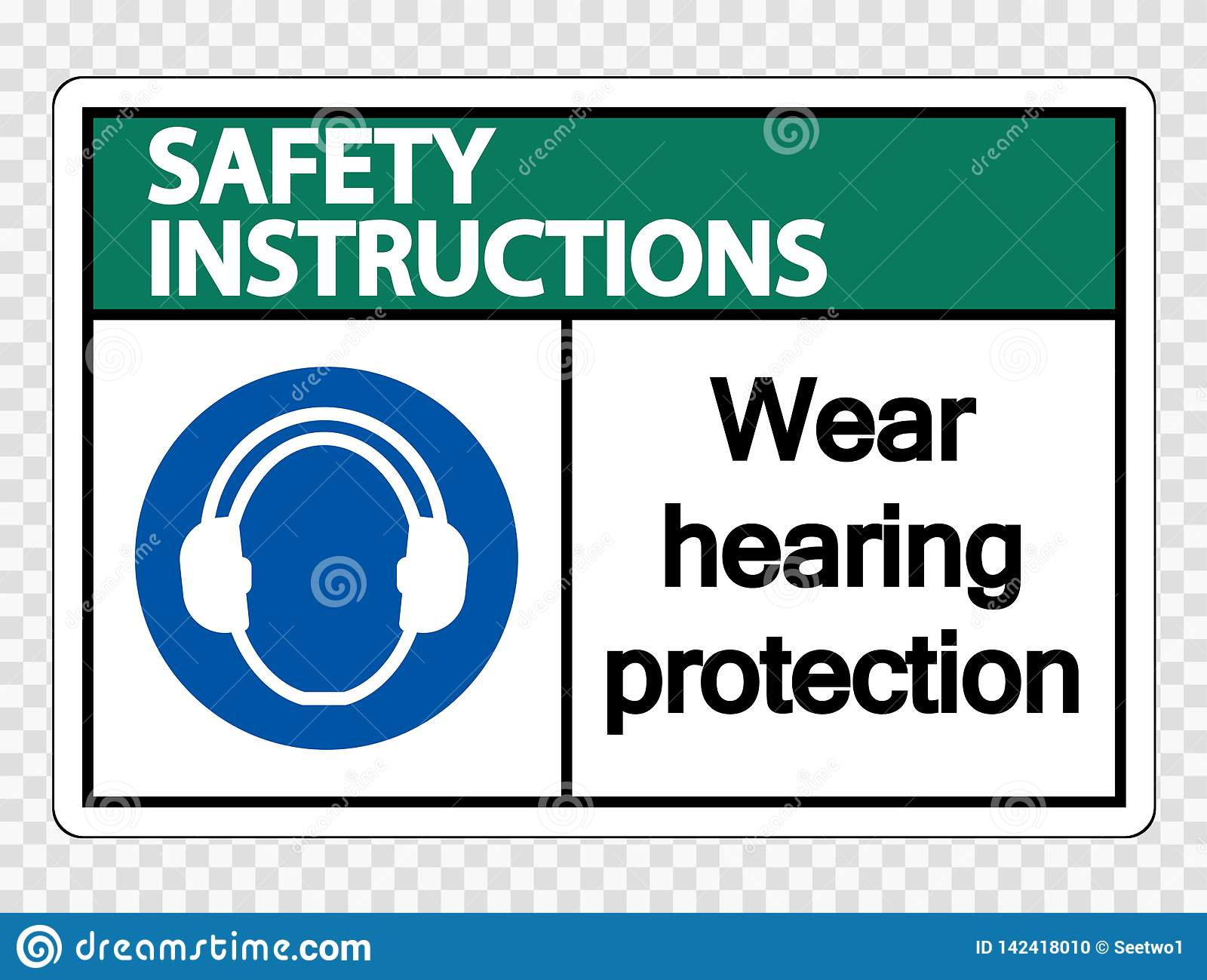 Les instructions de sécurité de symbole portent la protection auditive sur le fond transparent