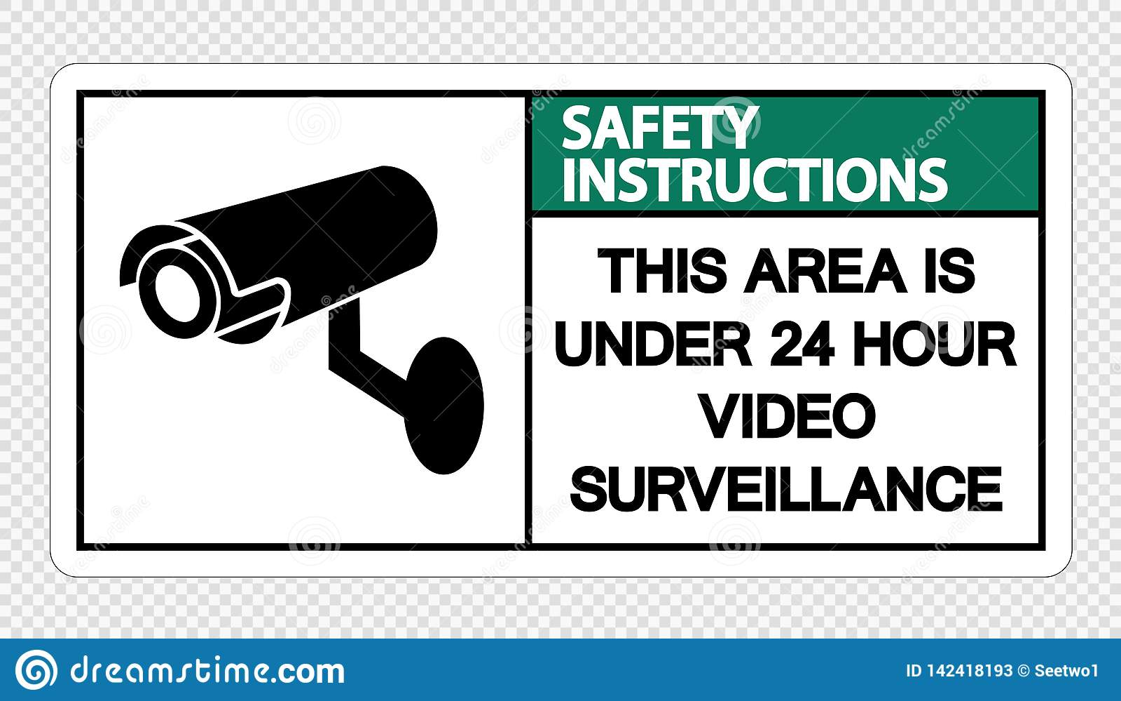 Les instructions de sécurité de symbole que ce secteur est au-dessous de 24 surveillances de vidéo d heure se connectent le fond