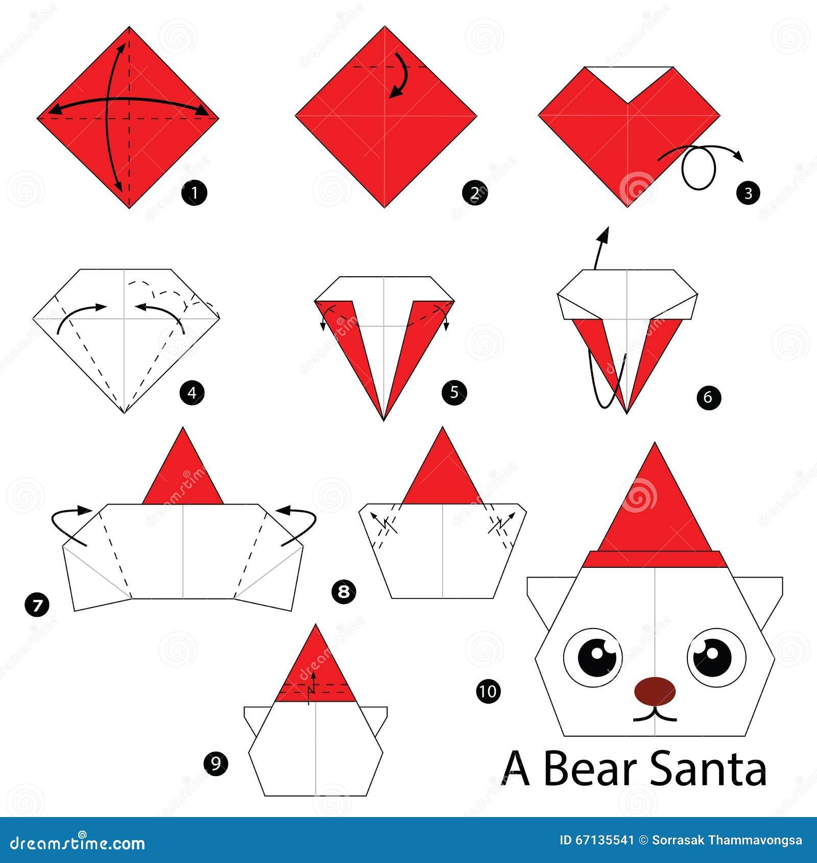 Les instructions tape par tape comment faire l 39 origami soutiennent santa illustration de - Comment faire de l origami ...