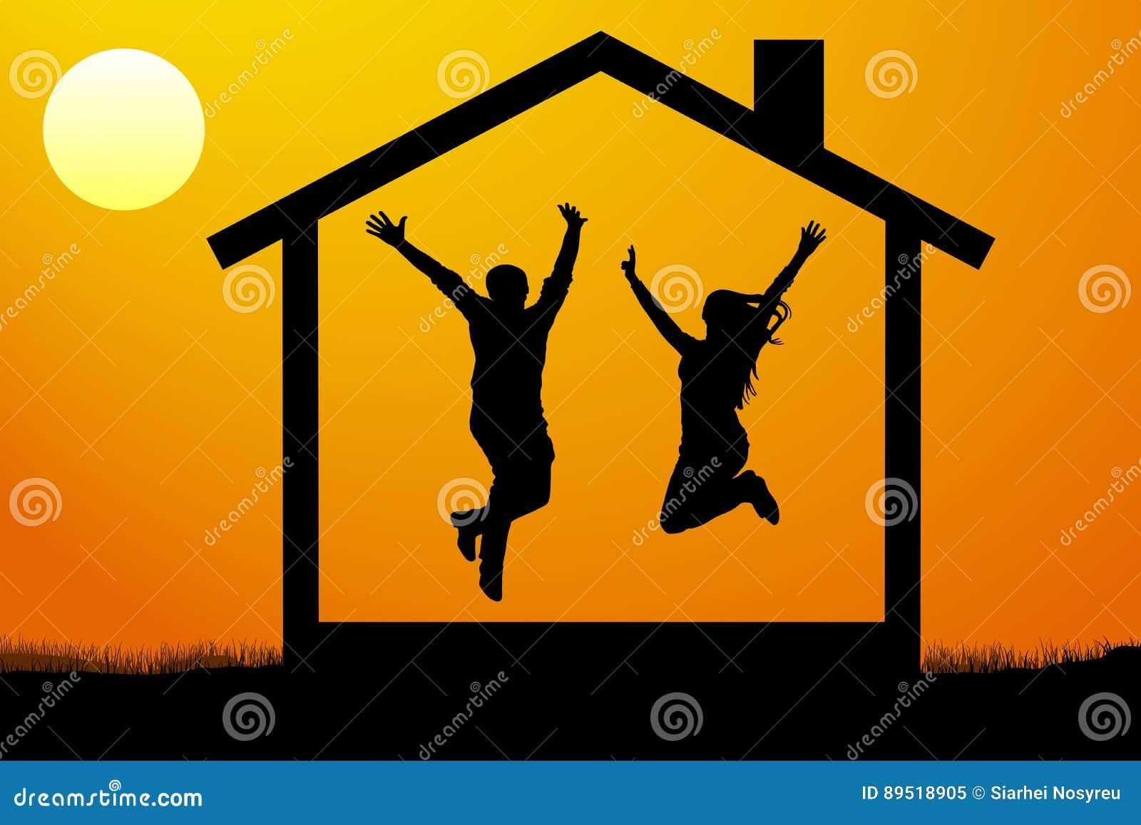 Les jeunes couples heureux, la famille sont entrés dans leur propre nouvelle maison à l illustration de vecteur de coucher du sol