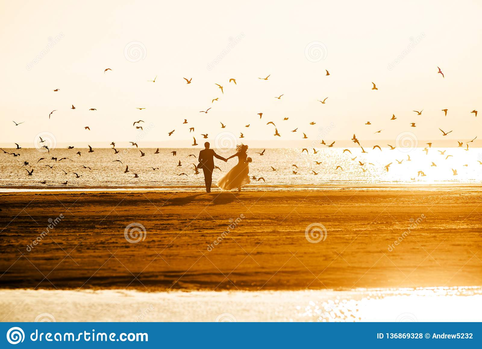 Les jeunes mariés montent dans le coucher du soleil