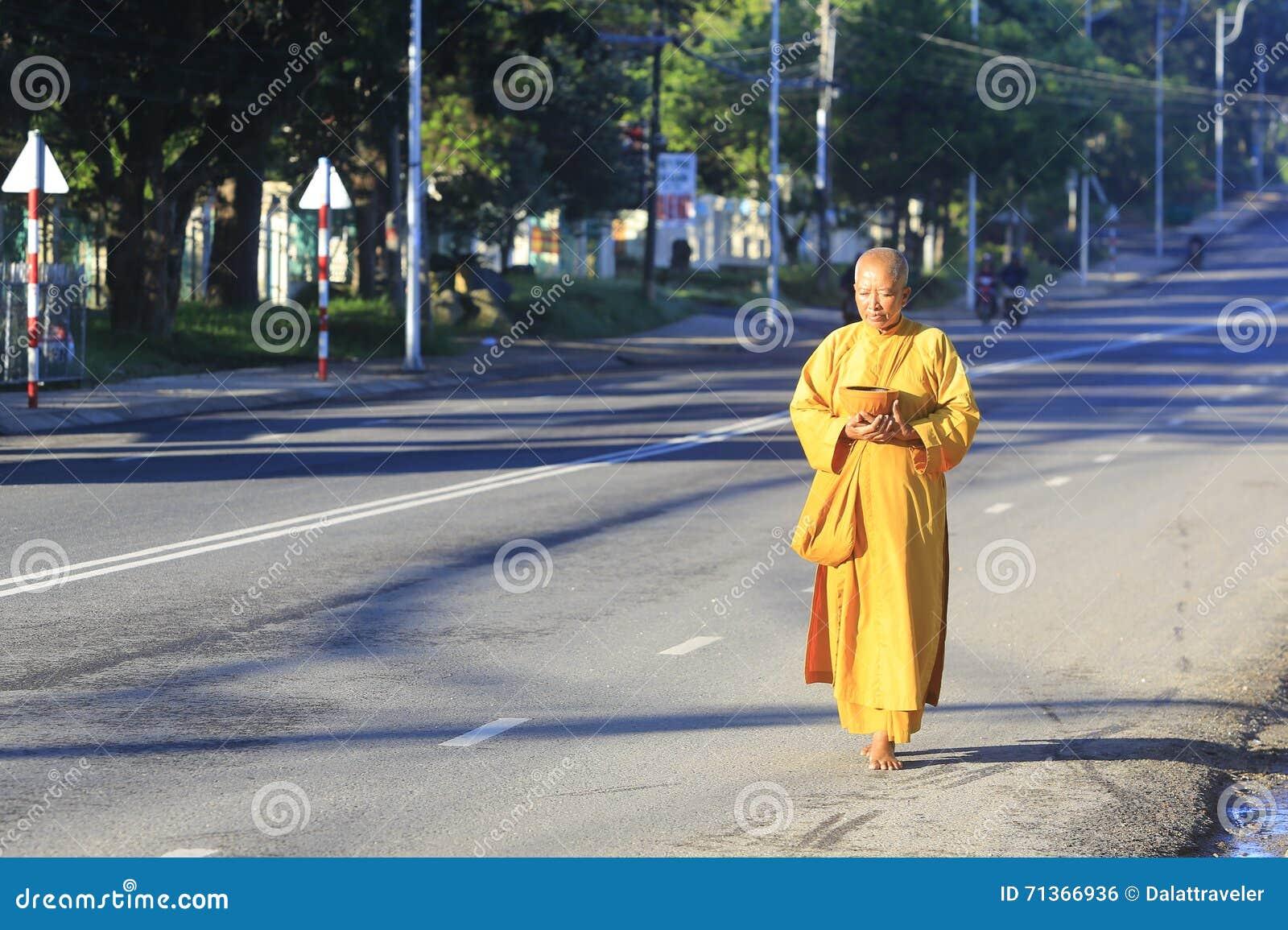 Les jeunes moines sont aumône de marche de matin dans Dalat