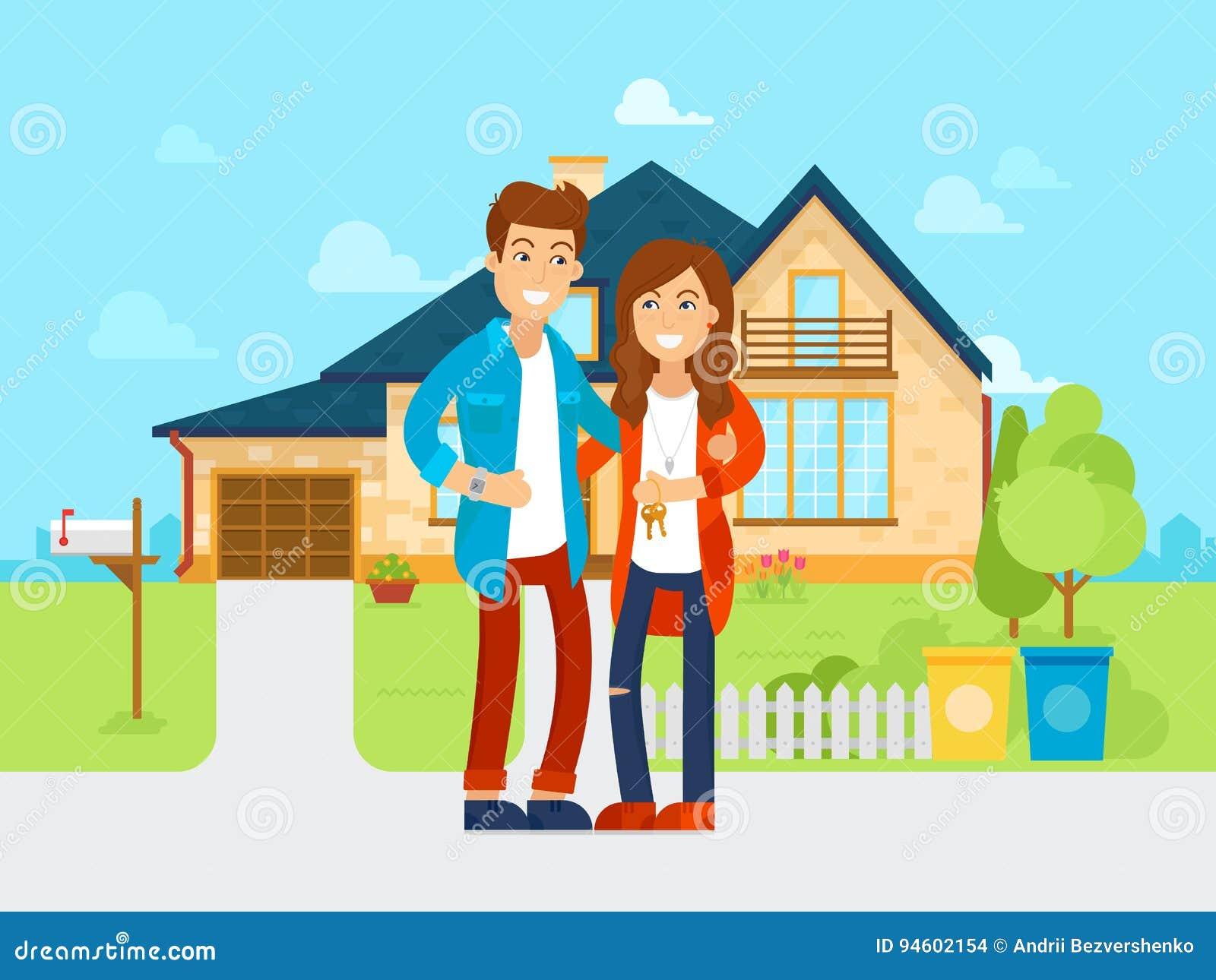 Les jeunes ont acheté le vecteur de nouvelle maison illustration plate La famille heureuse entre dans la nouvelle maison Personna