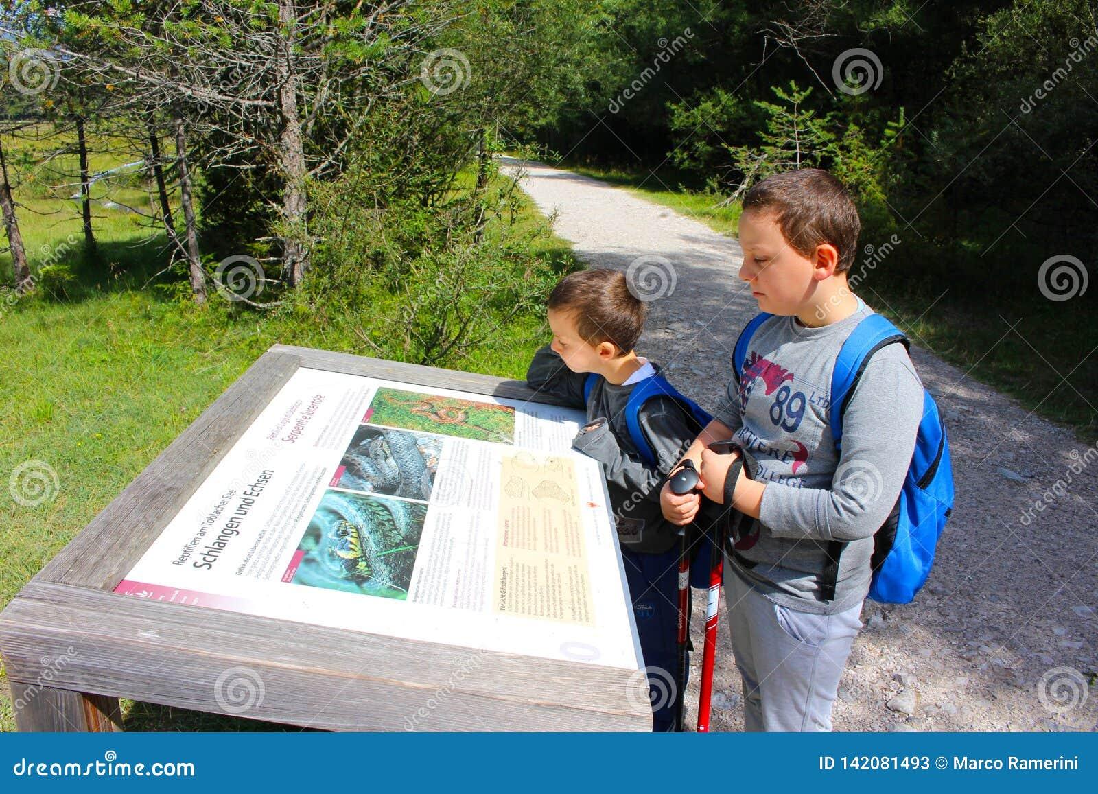 Les jeunes randonneurs observent un signe du parc sur le chemin le long du lac, Lago di Dobbiaco, dolomites, Italie