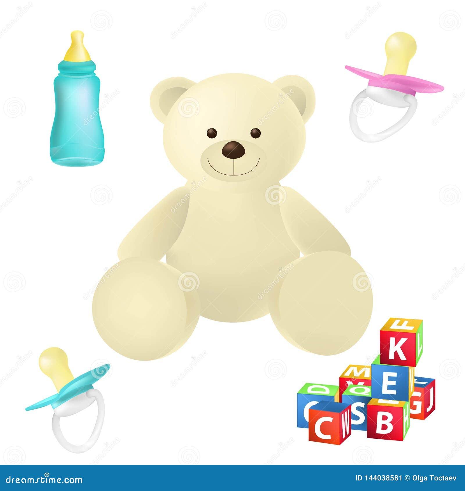Les jouets et les choses de b?b? ont d?taill? l ensemble de vecteur d ic?nes Apais?, petits animaux, biberon, ours de nounours d