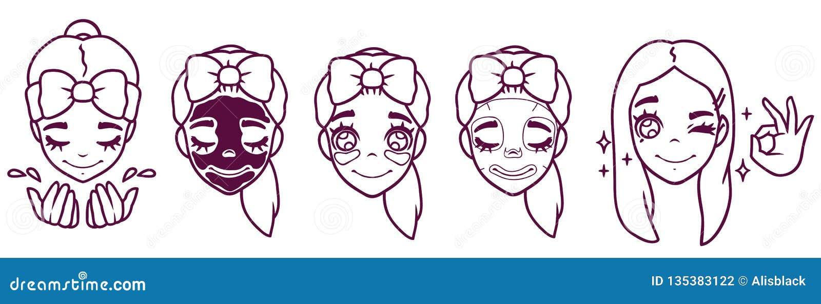 Les lavages de fille de bande dessinée, fait un masque, raccorde, brille placez des actions d auto-soin