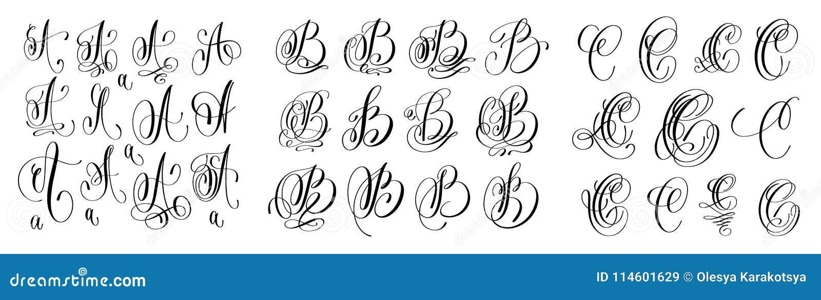 Calligraphie Lettre les lettres de calligraphie ont placé a, b et c, police de manuscrit
