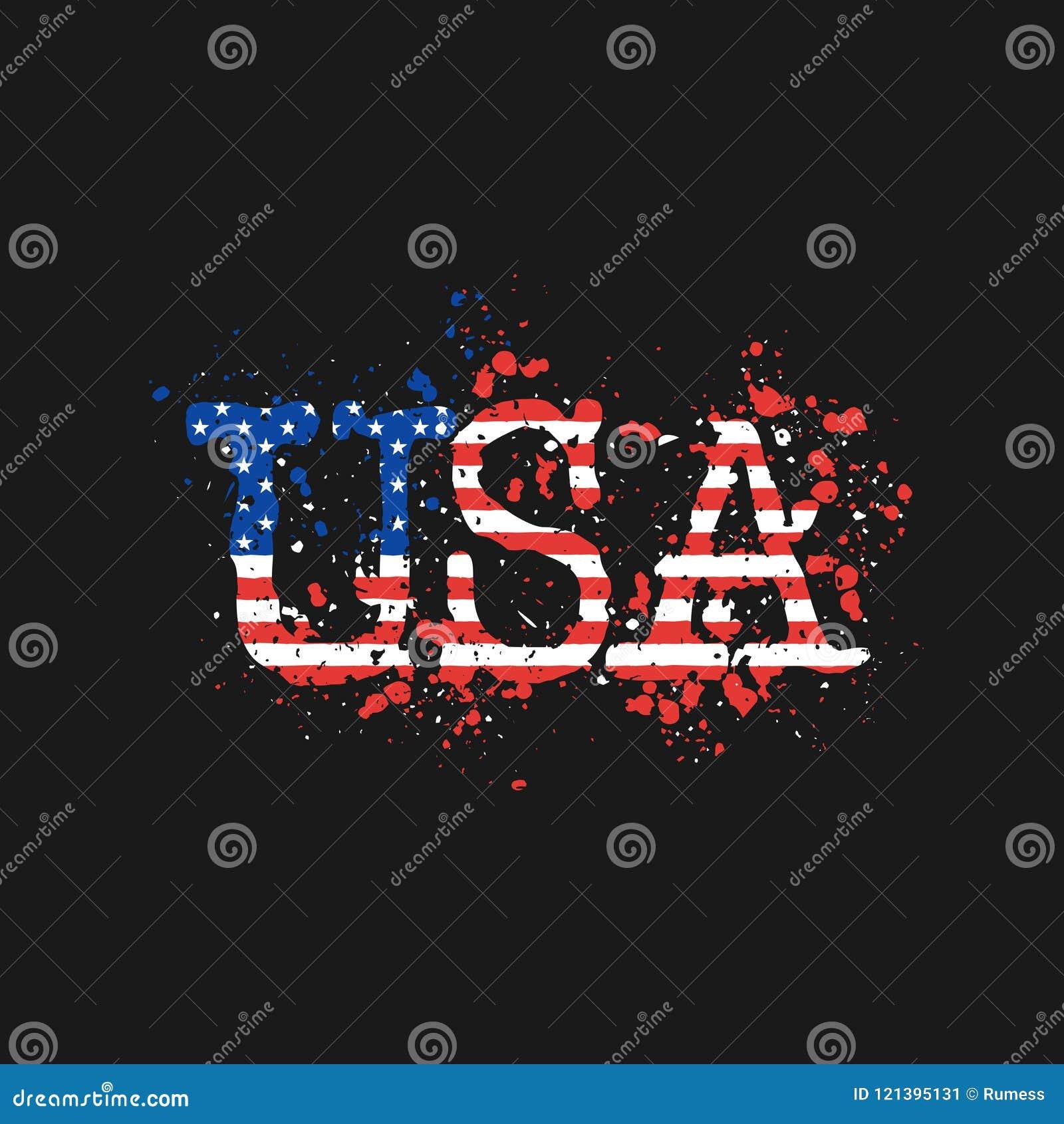Les lettres Etats-Unis peintes par couleur éclabousse de la bannière étoilée du ` s de drapeau des Etats-Unis Illustration de vec