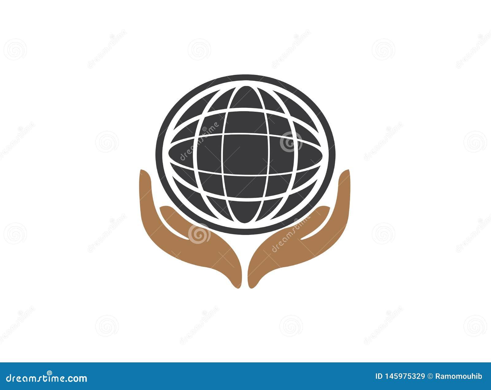 Les lignes de planète tracent avec soin d envirenment du monde de mains pour le vecteur de conception de logo, protègent l icône