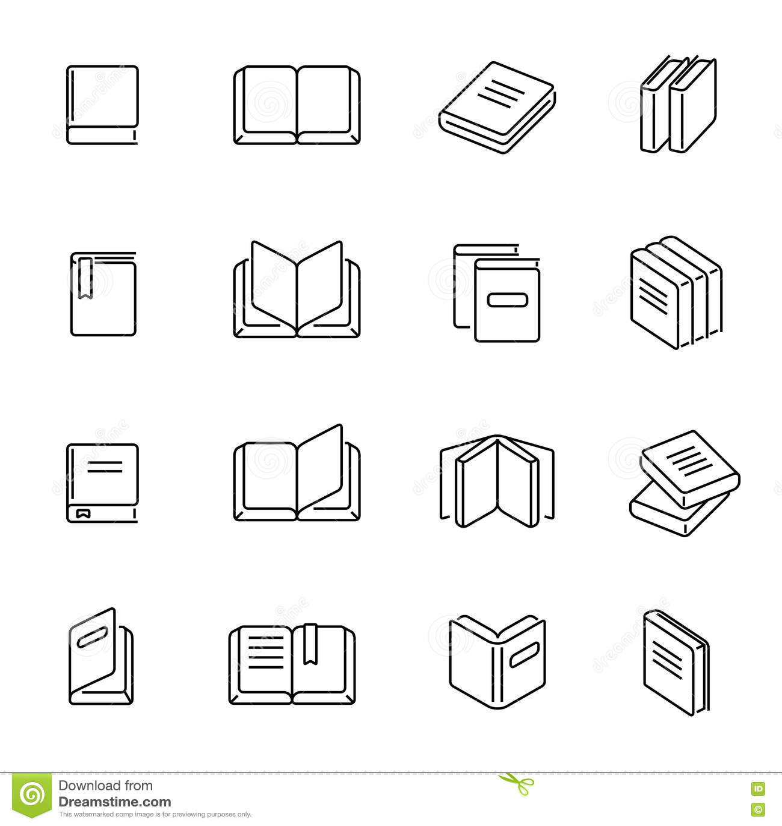 Les livres amincissent la ligne vecteur d icônes
