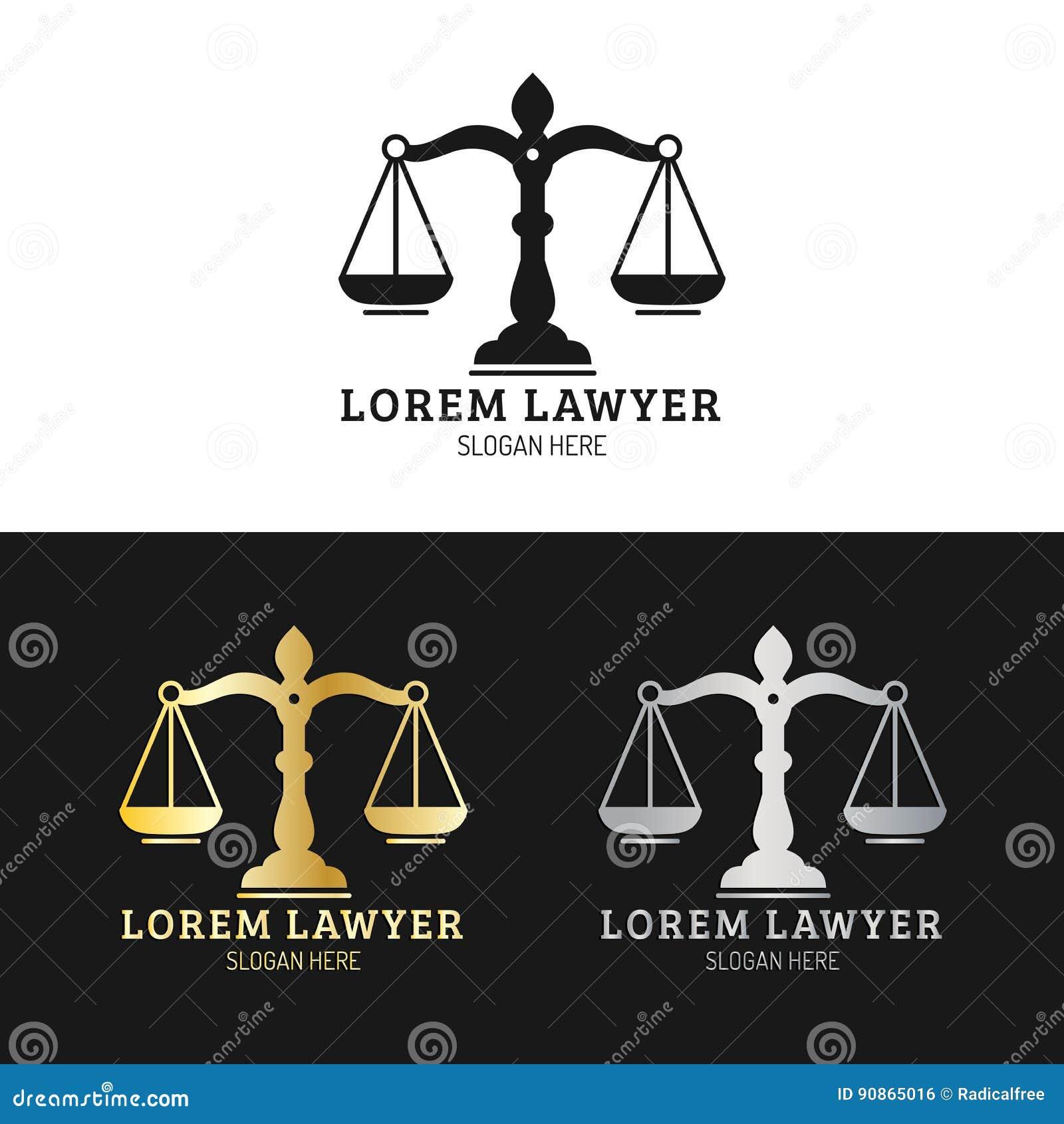 Les logos de cabinet juridique ont placé avec des échelles d illustration de justice Dirigez la mandataire de vintage, labels d a
