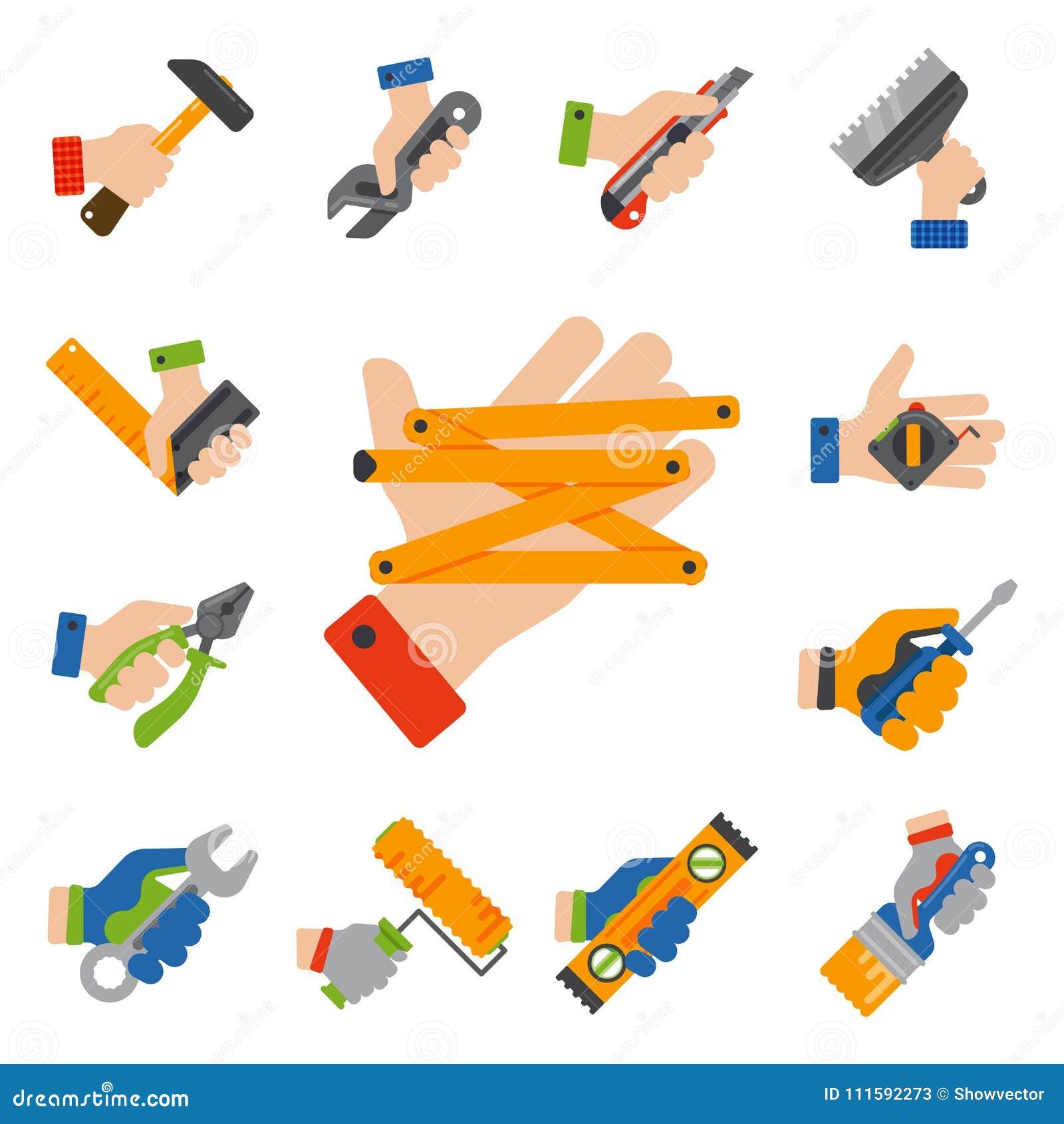 Les mains avec la construction usine l illustration de vecteur de bricoleur de rénovation de maison d équipement de travailleur