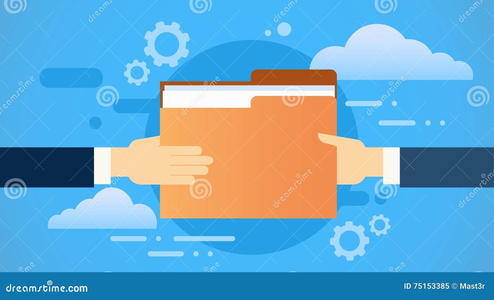Les mains d affaires donnent des papiers de document de dossier, base de données de nuage de l information de part