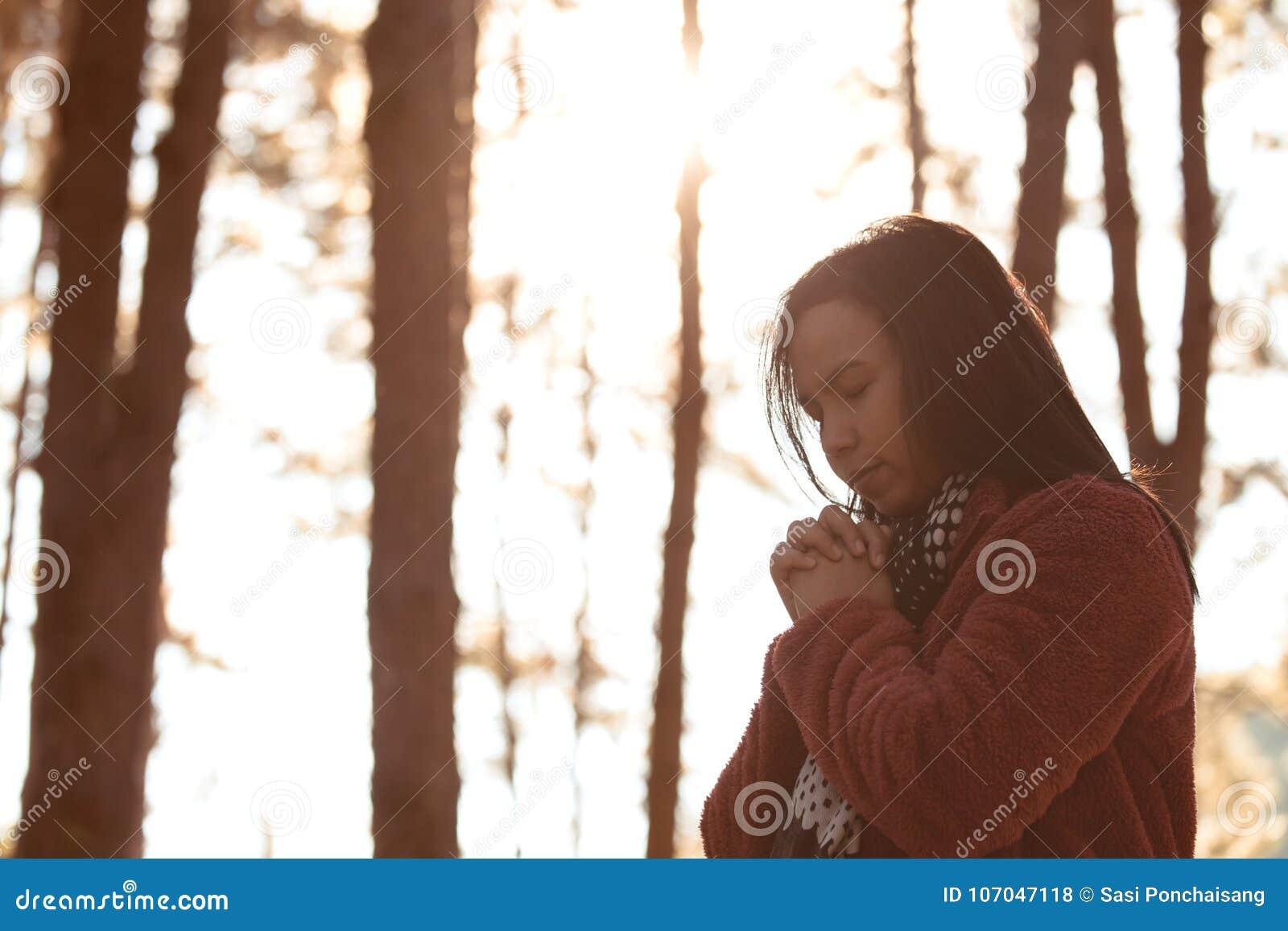 Les mains de femme se sont pliées dans la prière en beau parc de pin de nature