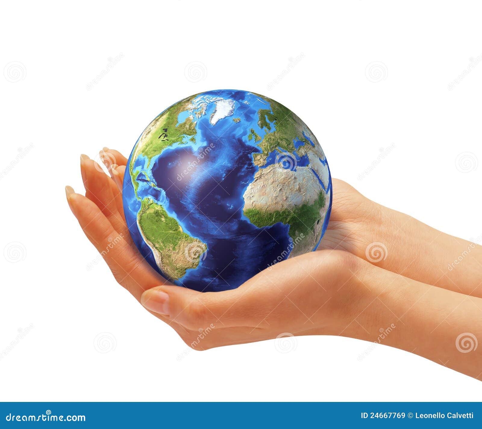 les mains de la femme tenant le globe de la terre image. Black Bedroom Furniture Sets. Home Design Ideas