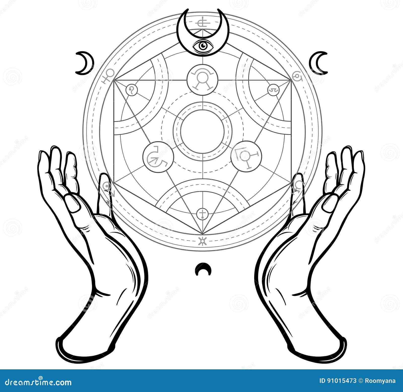 Les mains humaines touchent un cercle alchimique Symboles mystiques, la géométrie sacrée