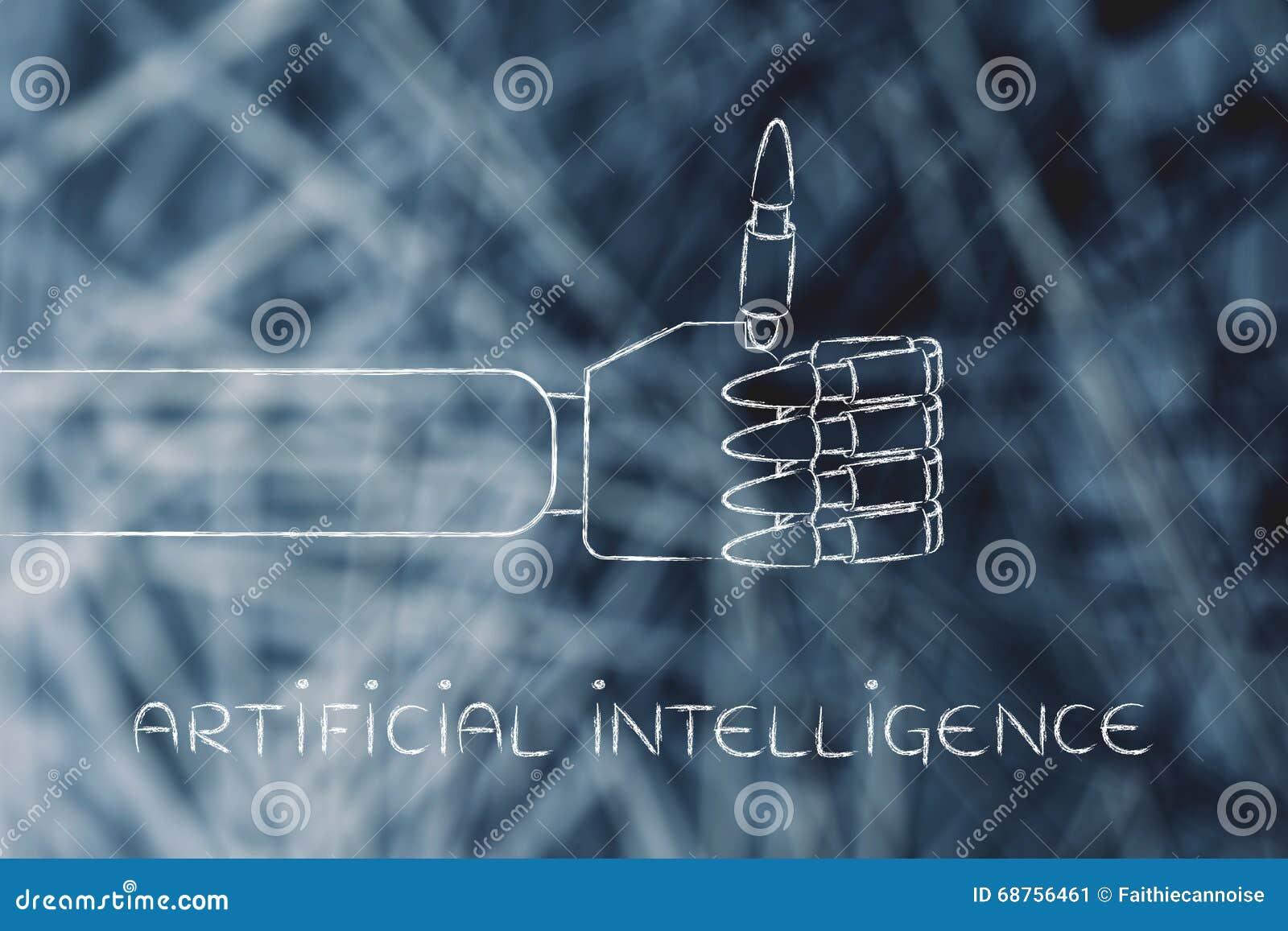Les mains robotiques faisant des pouces lèvent le geste, intelligence artificielle