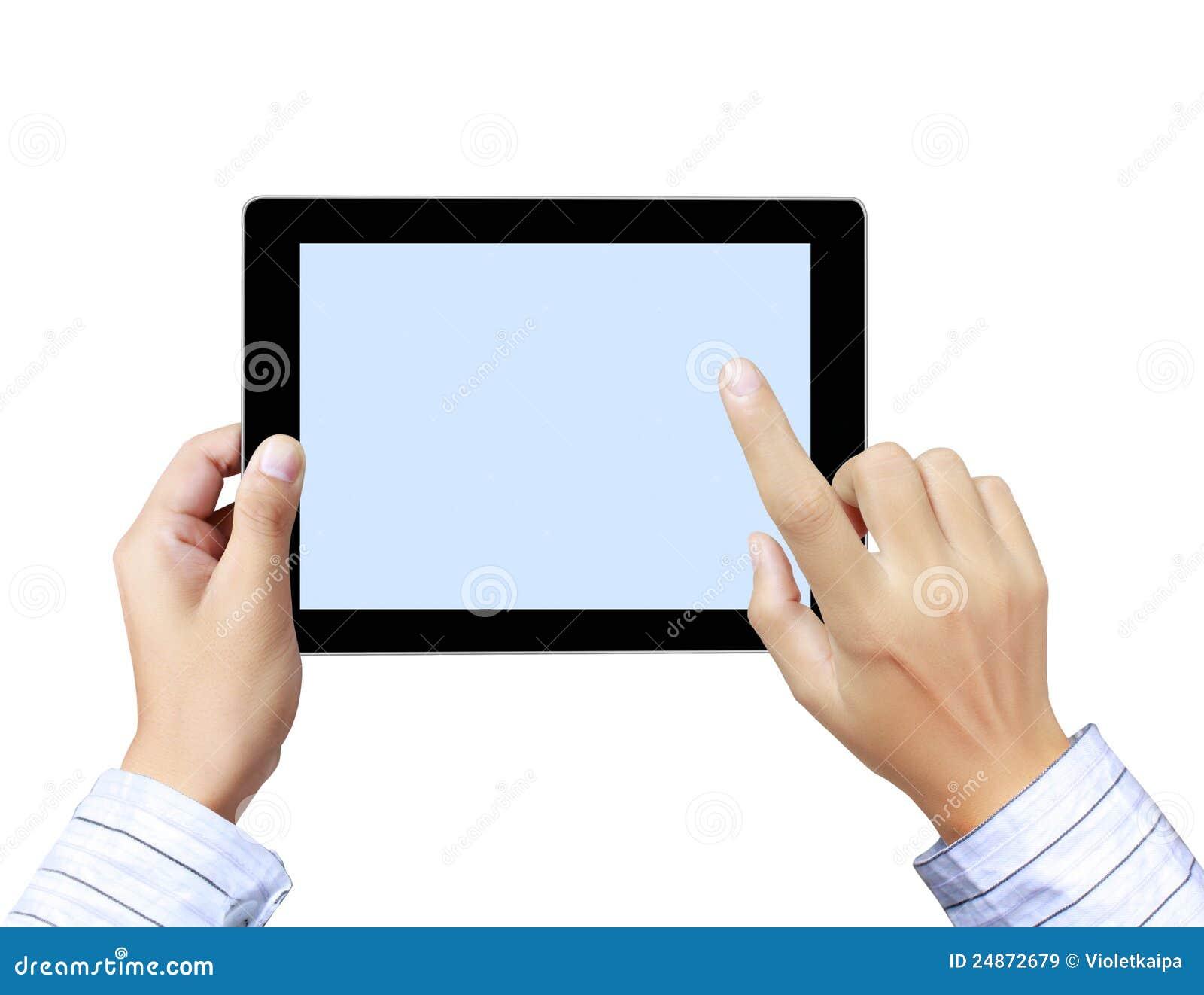 les mains se dirigent sur l 39 cran tactile tablette tactile images libres de droits image. Black Bedroom Furniture Sets. Home Design Ideas