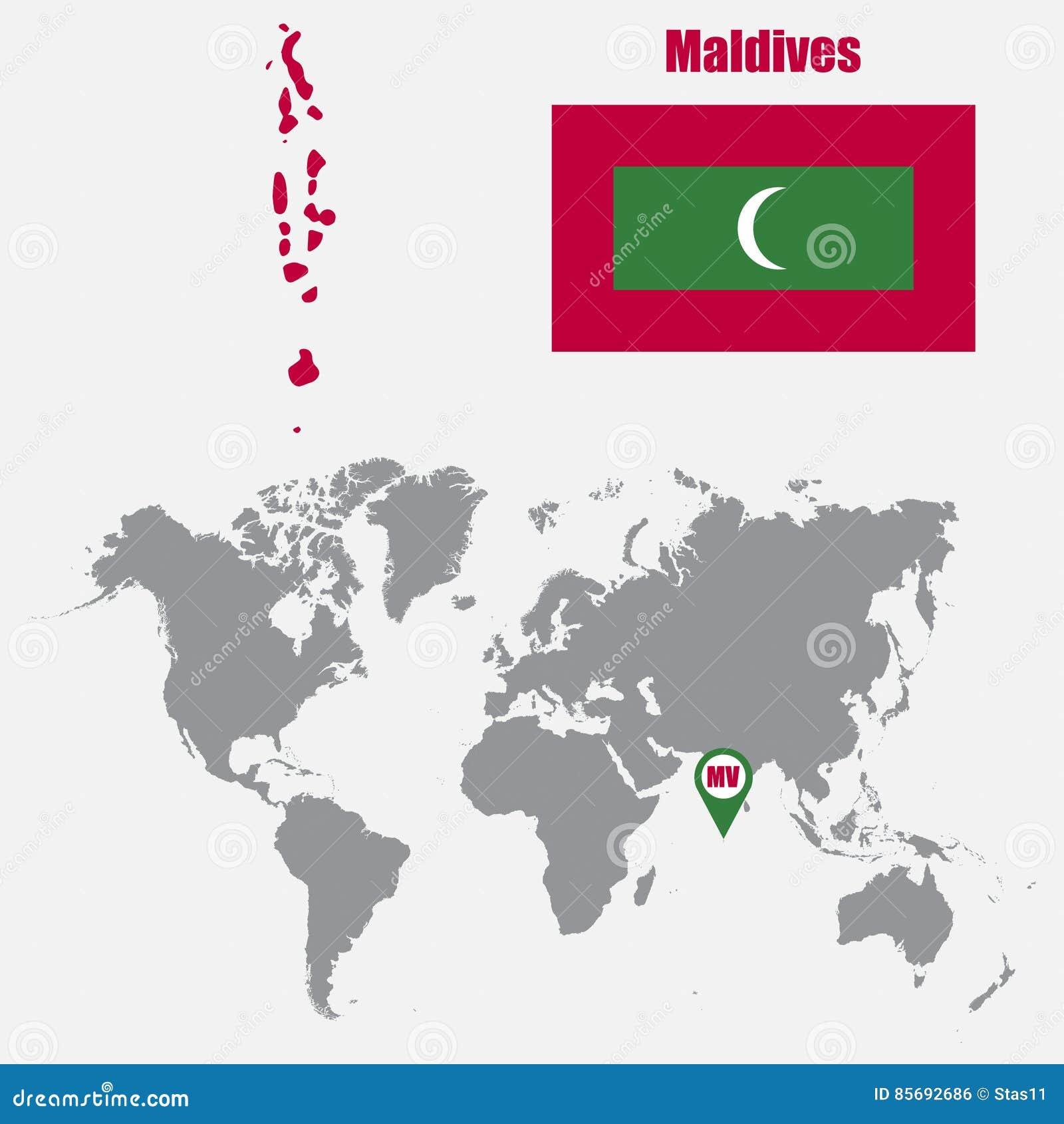 les maldives tracent sur une carte du monde avec le drapeau et tracent l 39 indicateur illustration. Black Bedroom Furniture Sets. Home Design Ideas