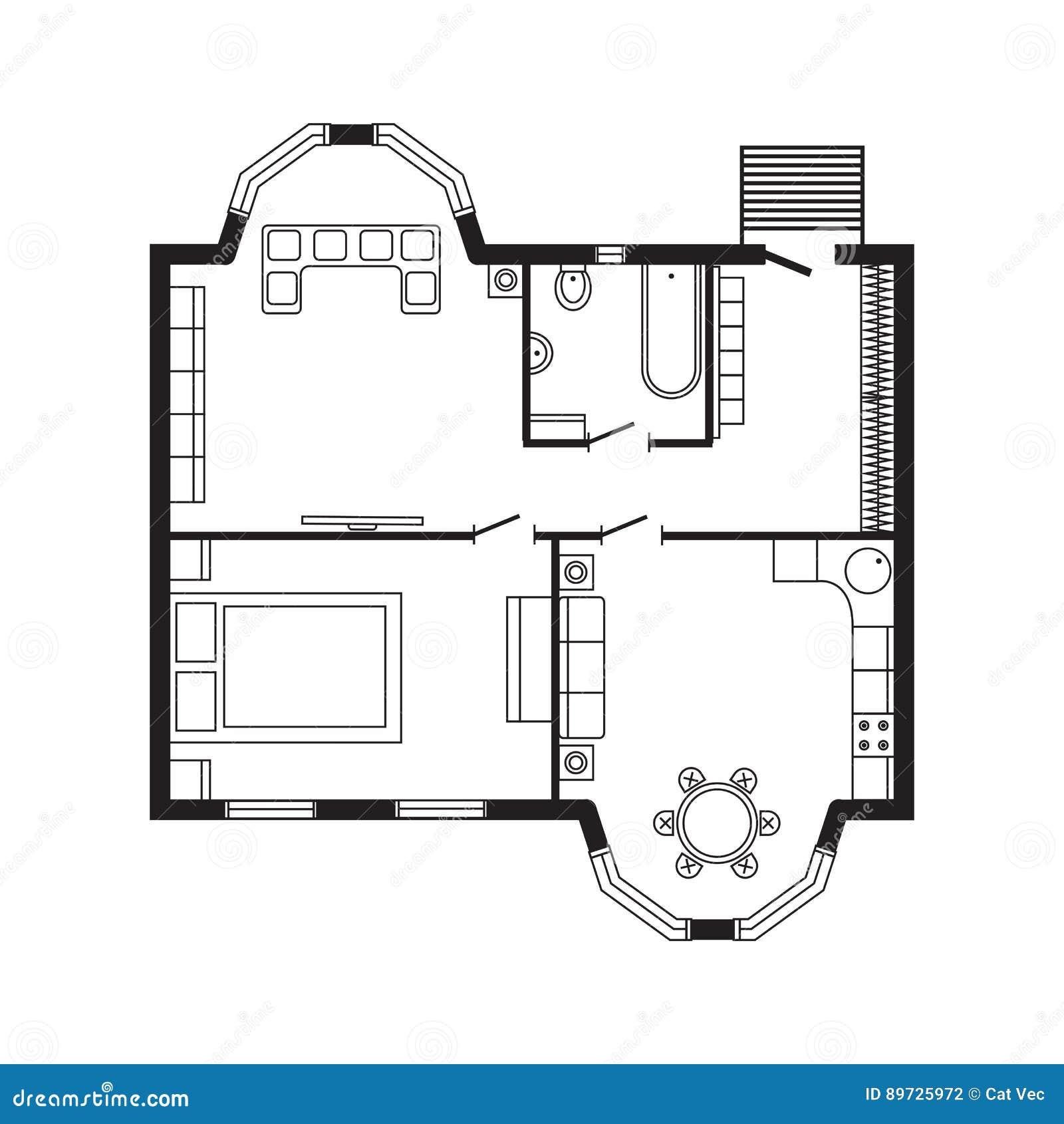 Les Meubles De Plan Architectural De Bureau Et Le Dessin D
