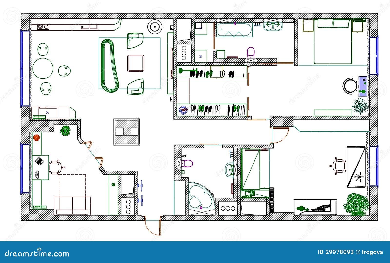 les meubles sont sur le plan d 39 architecte photos stock. Black Bedroom Furniture Sets. Home Design Ideas