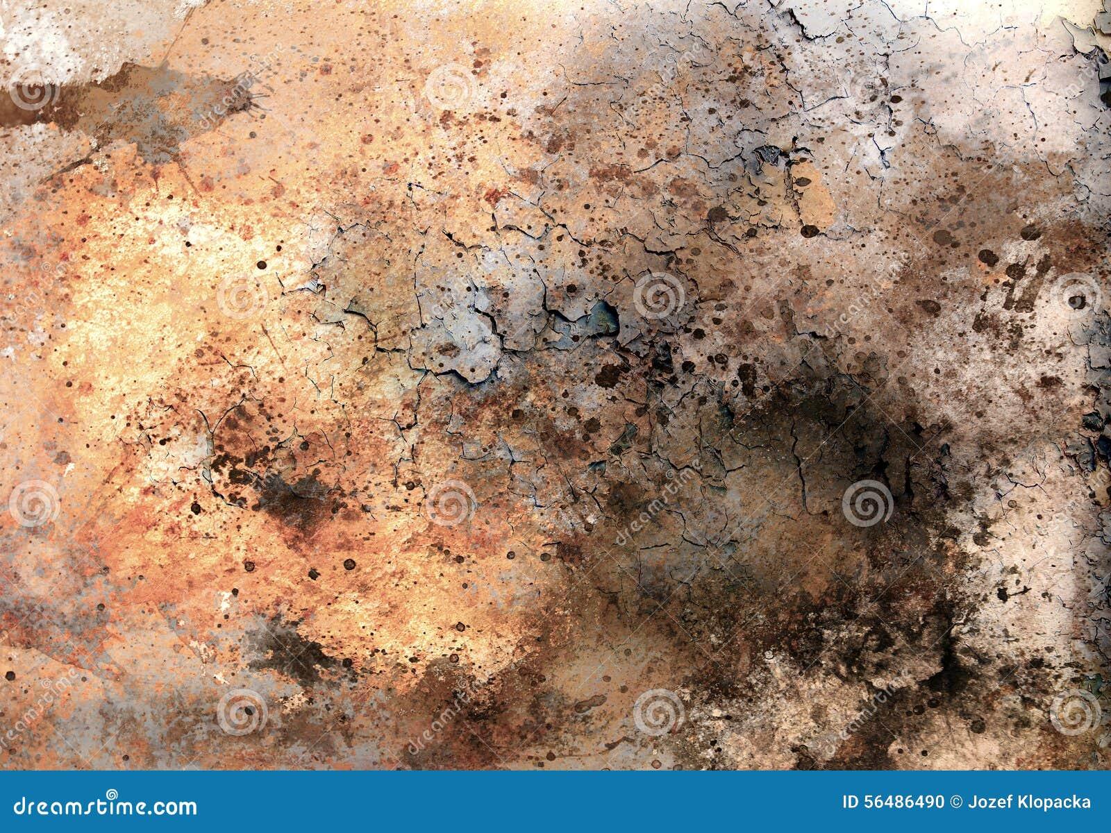 Les milieux abstraits de couleur, le collage de peinture avec des taches, la structure de rouille et le désert crépitent