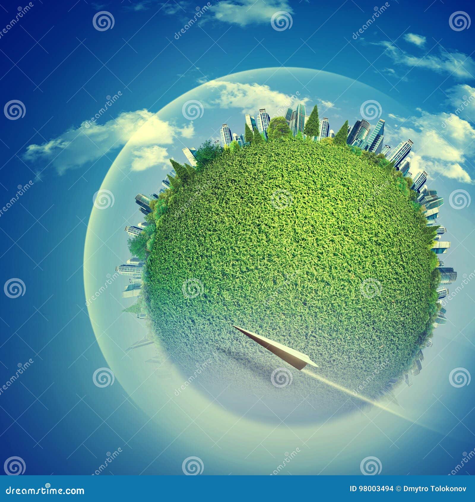 Les milieux d Eco avec le globe et le vol de la terre voyagent en jet
