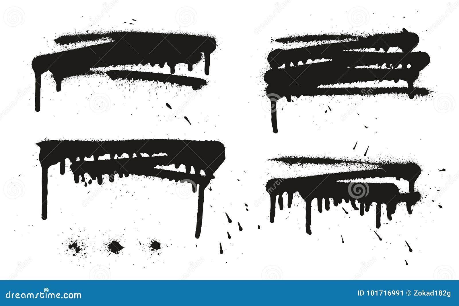 Les milieux, les lignes et les égouttements de vecteur d abrégé sur peinture de jet ont placé 16
